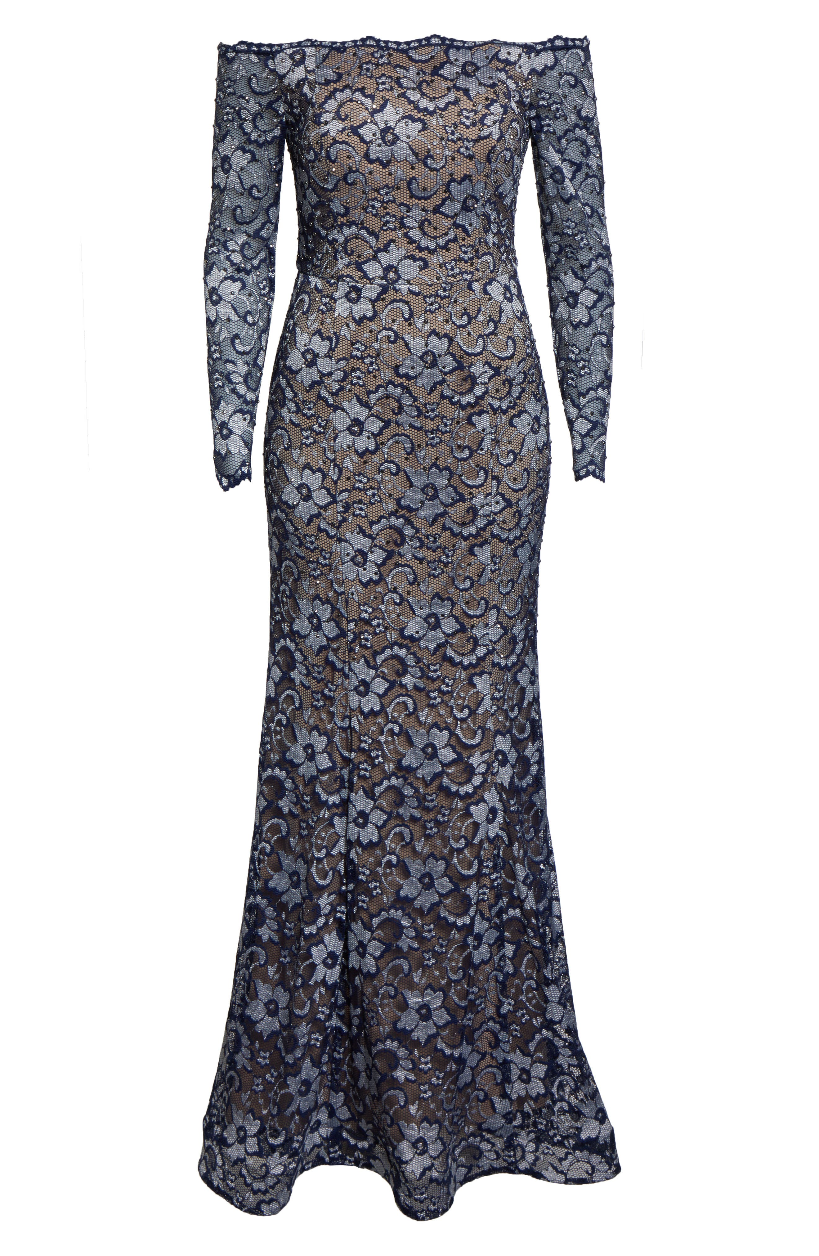 XSCAPE,                             Off the Shoulder Lace Evening Dress,                             Alternate thumbnail 3, color,                             NAVY/ NUDE
