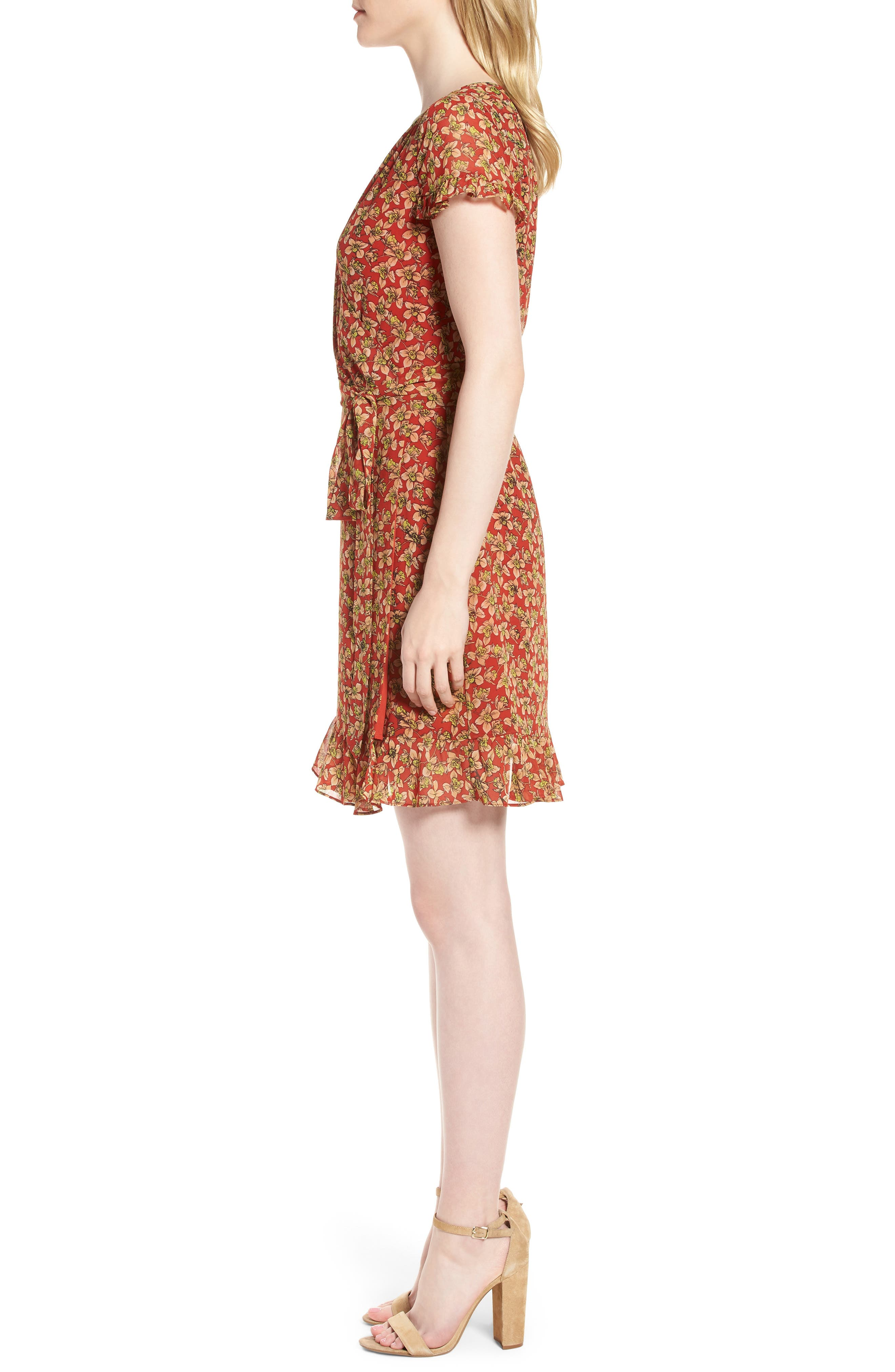 Ana Floral Wrap Dress,                             Alternate thumbnail 3, color,                             603