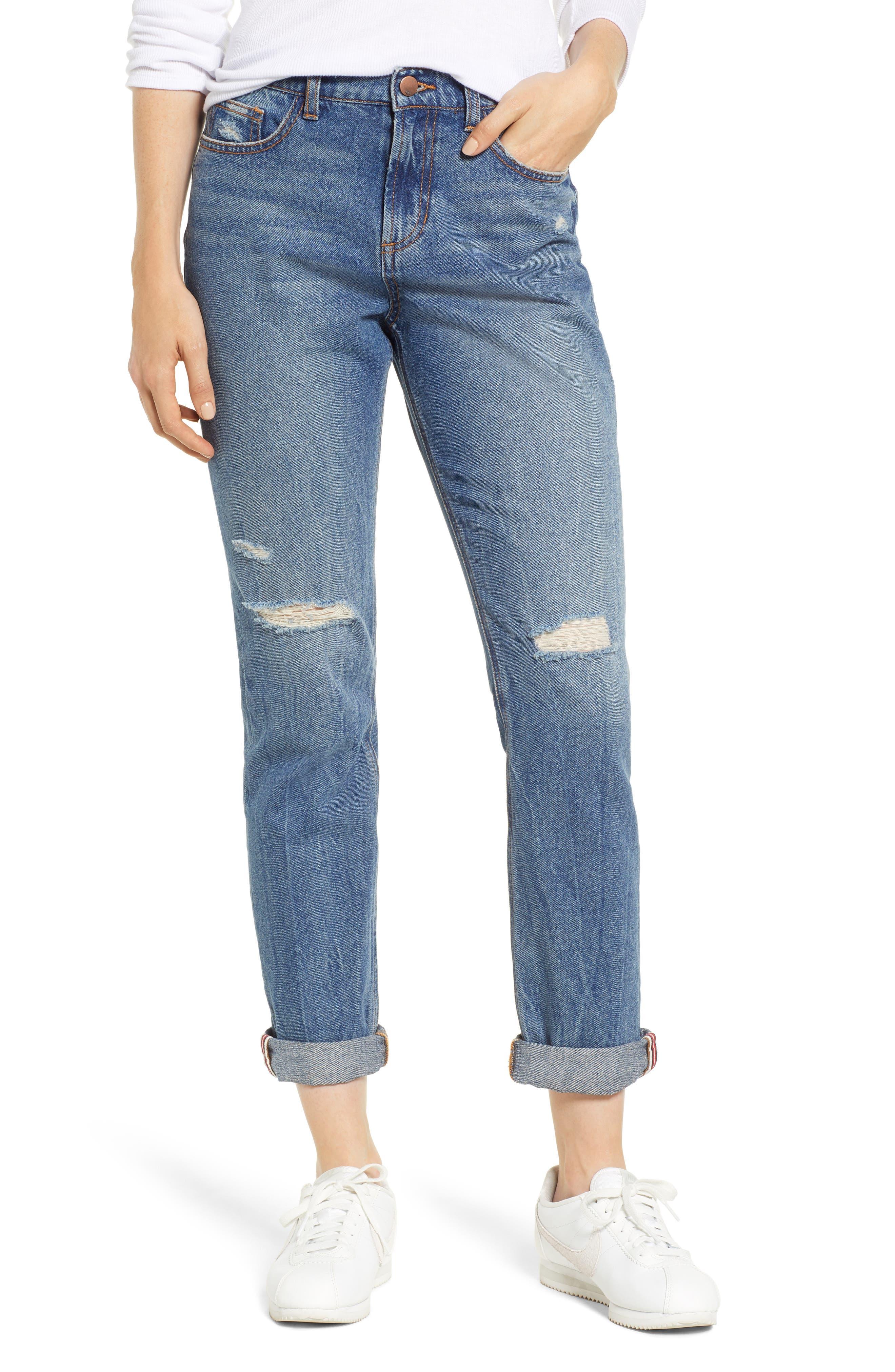 SP BLACK Cuffed Ripped Boyfriend Jeans, Main, color, 420