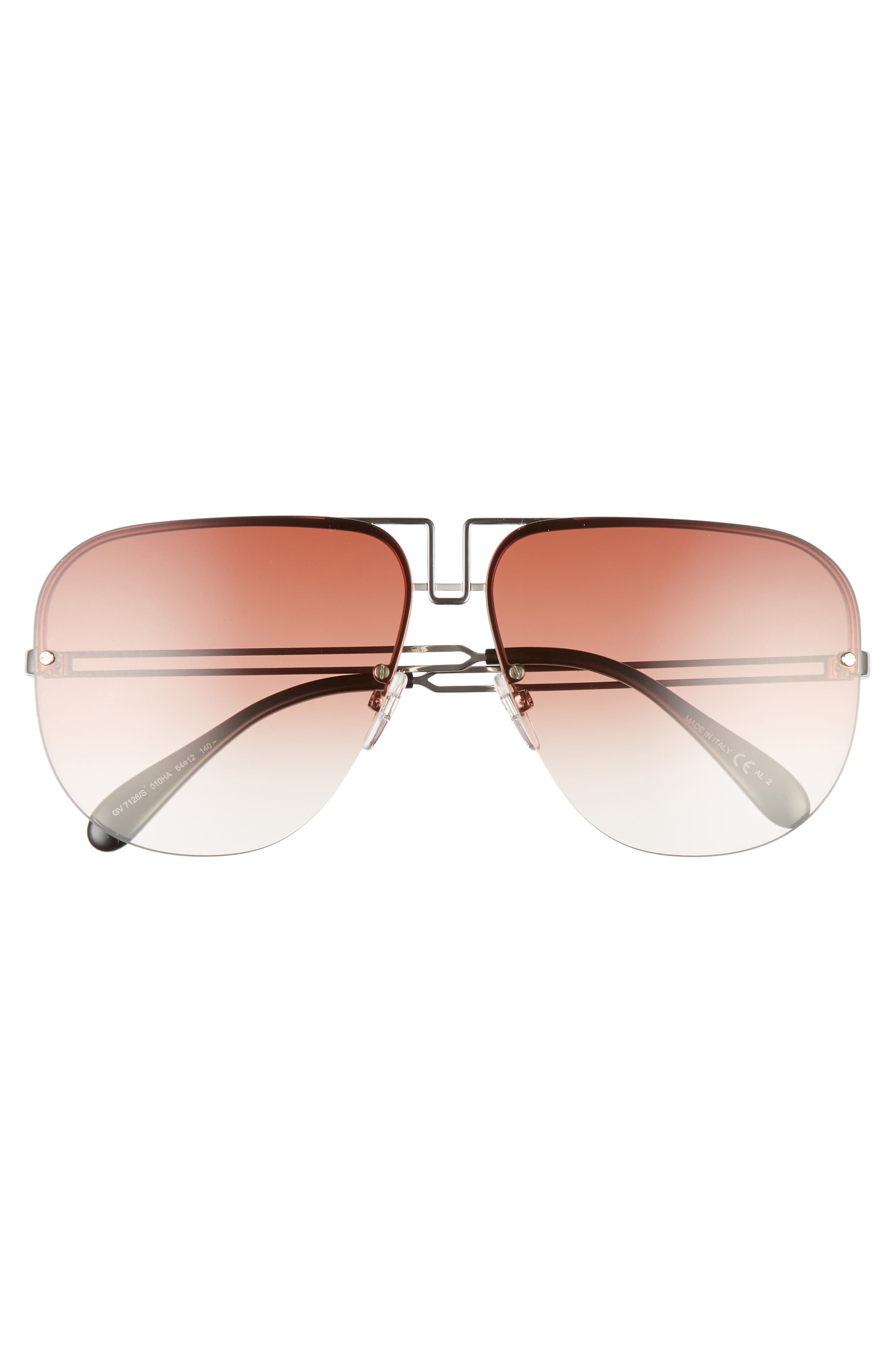 GIVENCHY,                             64mm Oversize Aviator Sunglasses,                             Alternate thumbnail 3, color,                             PALLADIUM/ COPPER