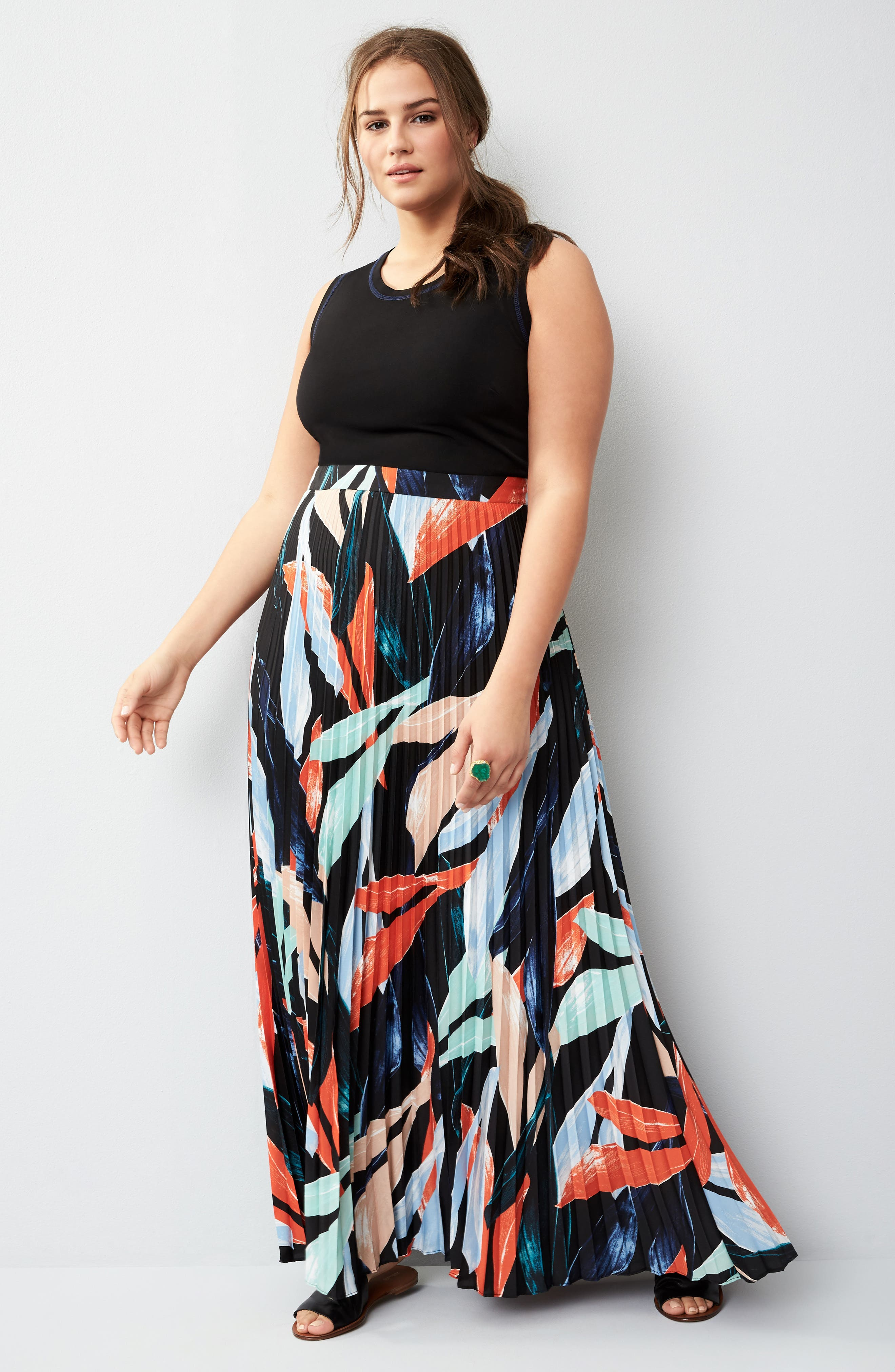 Mock Two-Piece Maxi Dress,                             Alternate thumbnail 7, color,