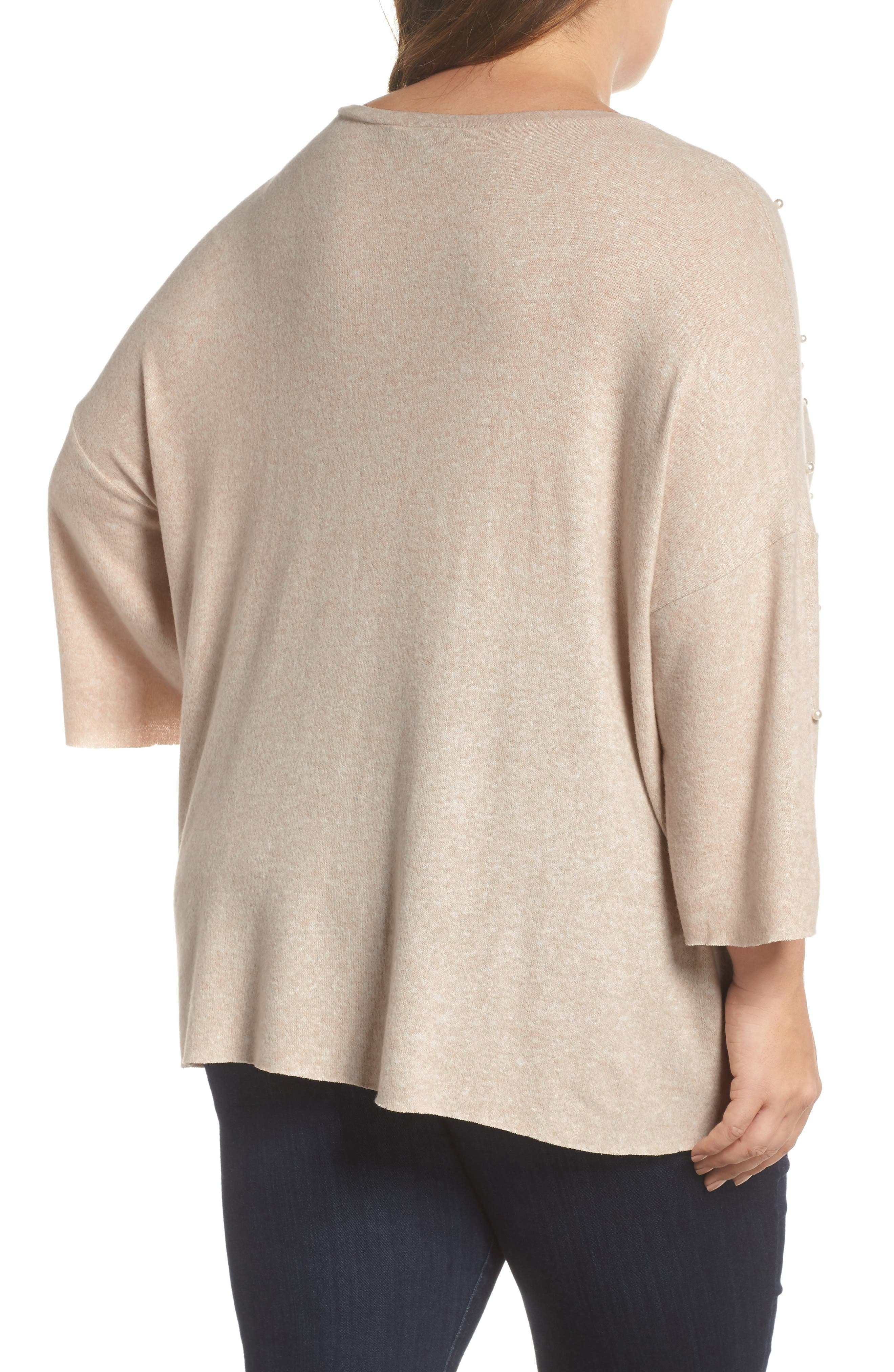 Pearl Embellished Sweater,                             Alternate thumbnail 4, color,