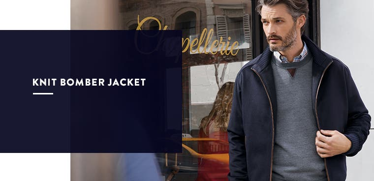 Men's knit bomber jacket.