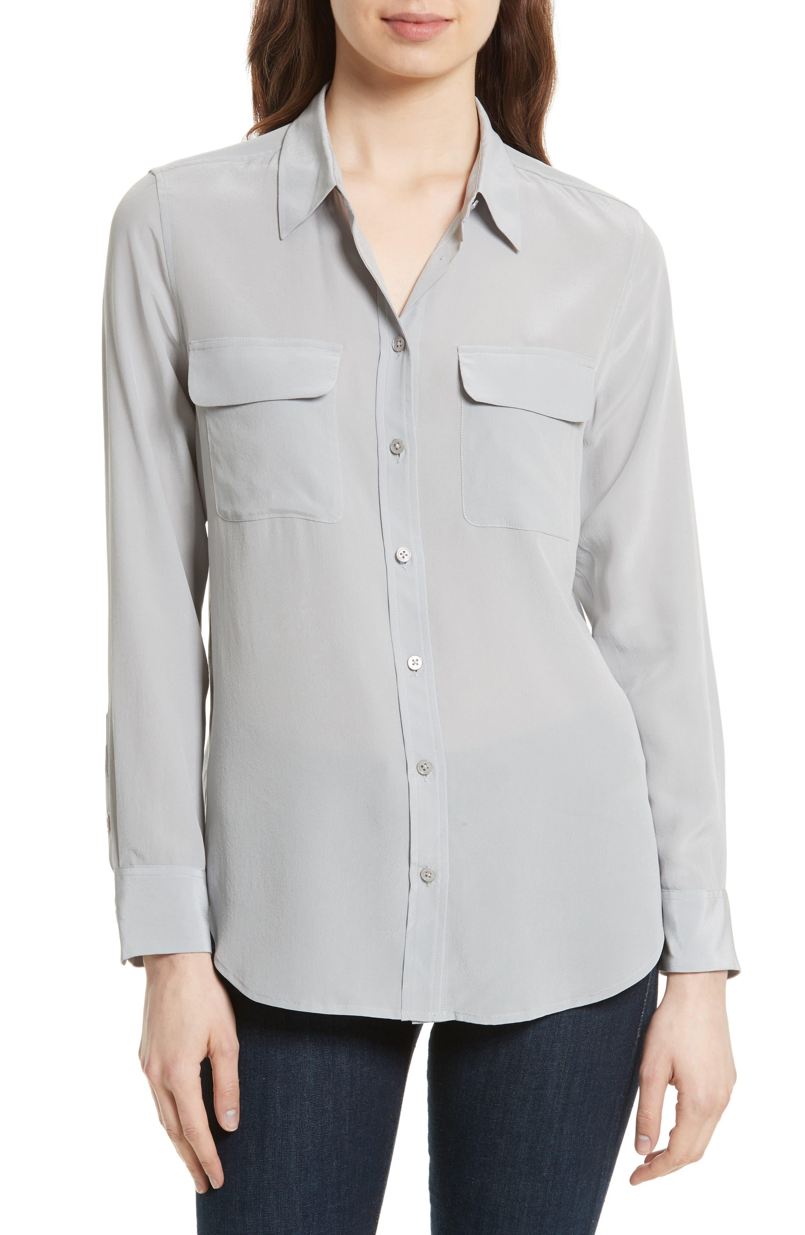 'Slim Signature' Silk Shirt,                         Main,                         color, 056