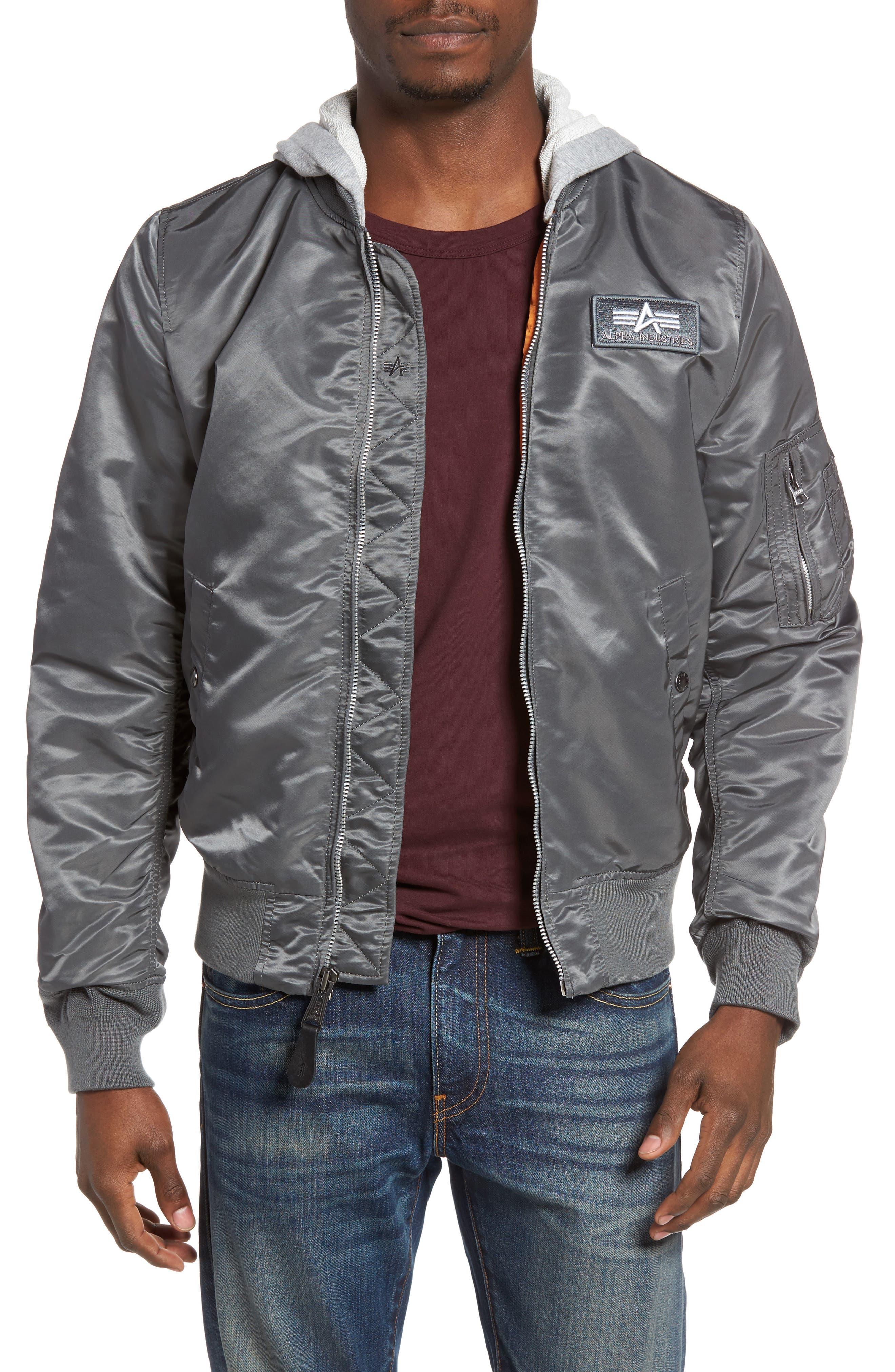 Lightweight L2-B Flight Jacket with Knit Hood,                             Main thumbnail 2, color,