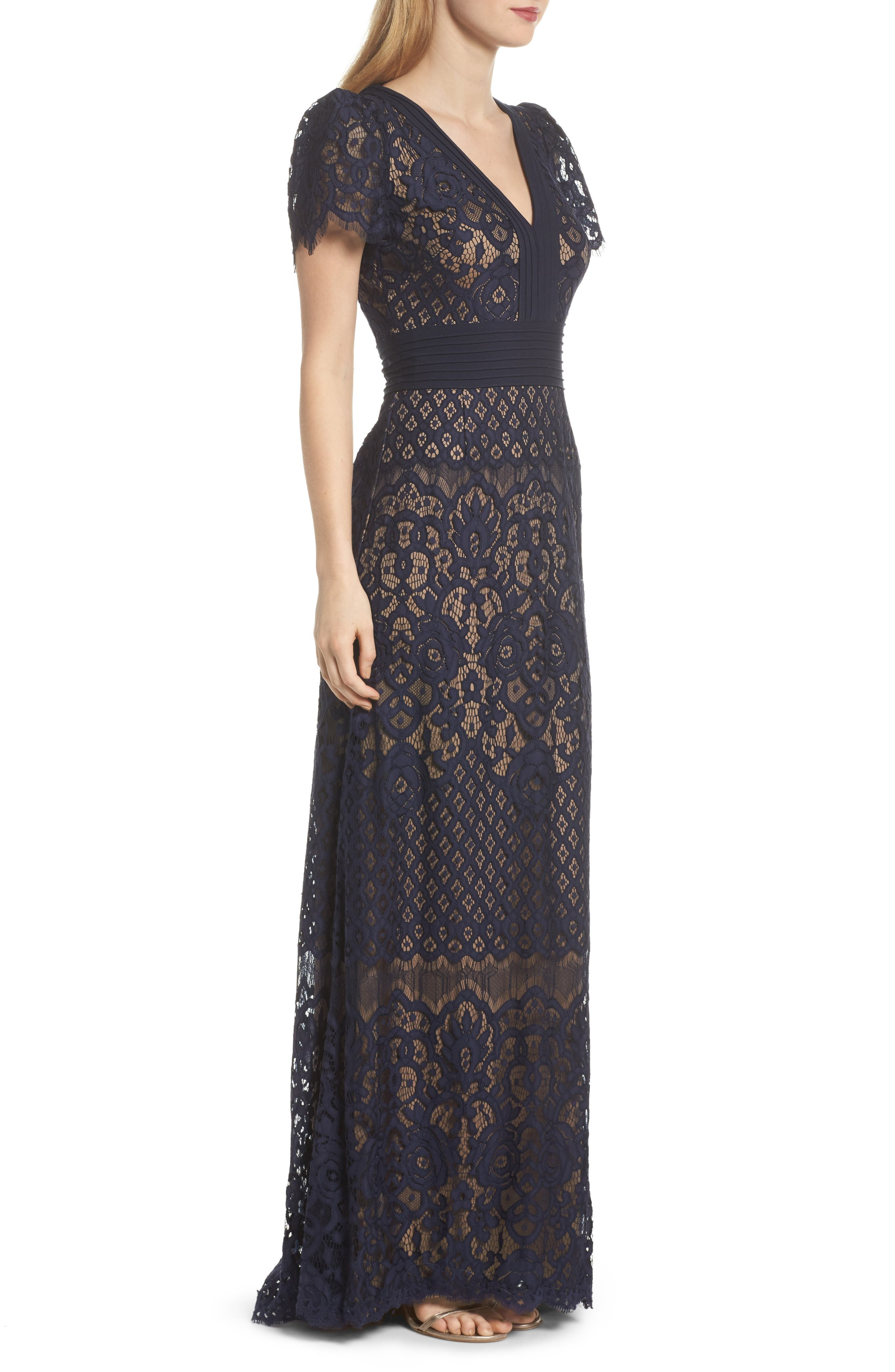 Pintuck Detail Lace Gown,                             Alternate thumbnail 3, color,                             408