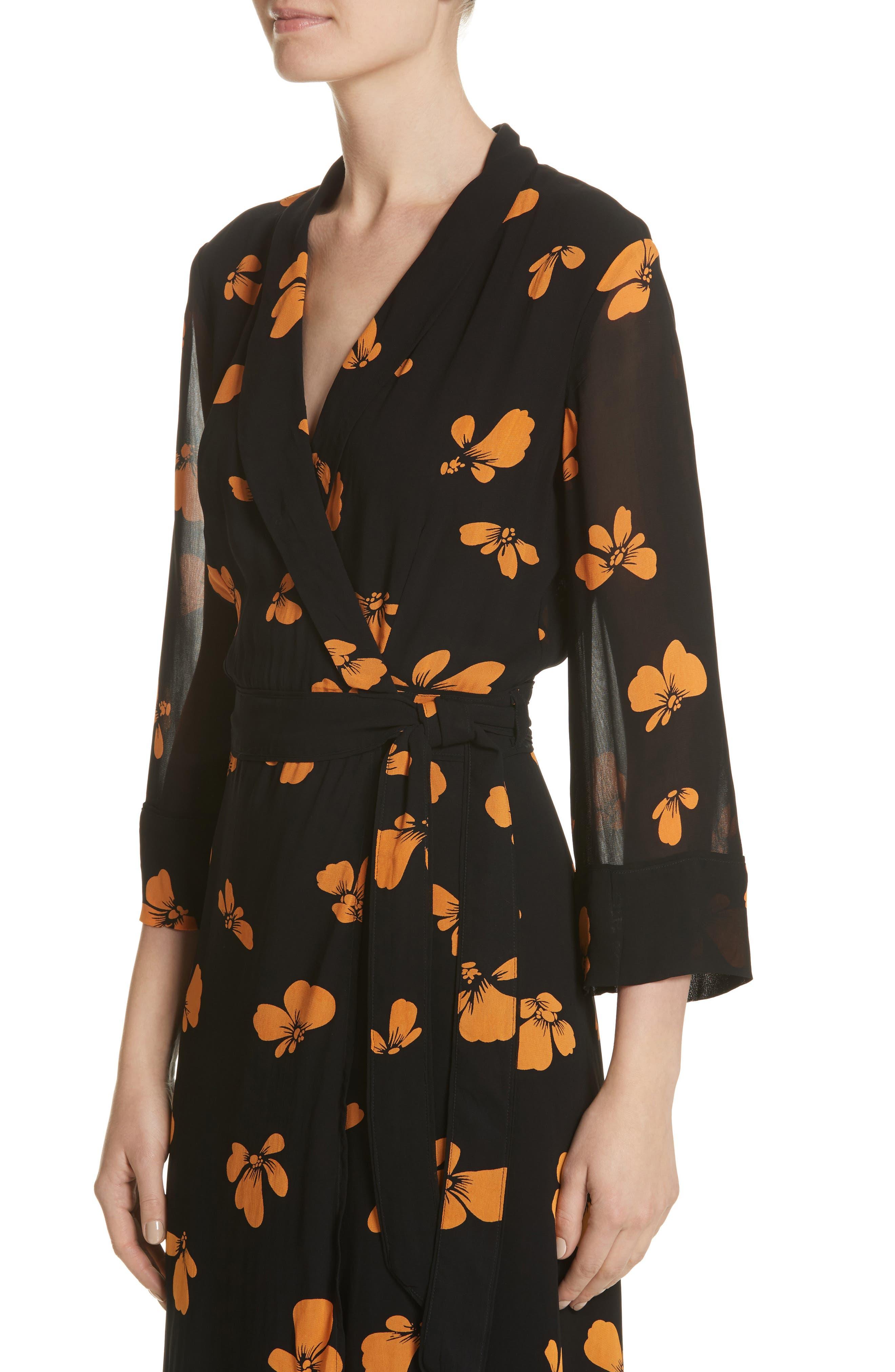 Fairfax Georgette Wrap Dress,                             Alternate thumbnail 4, color,                             001