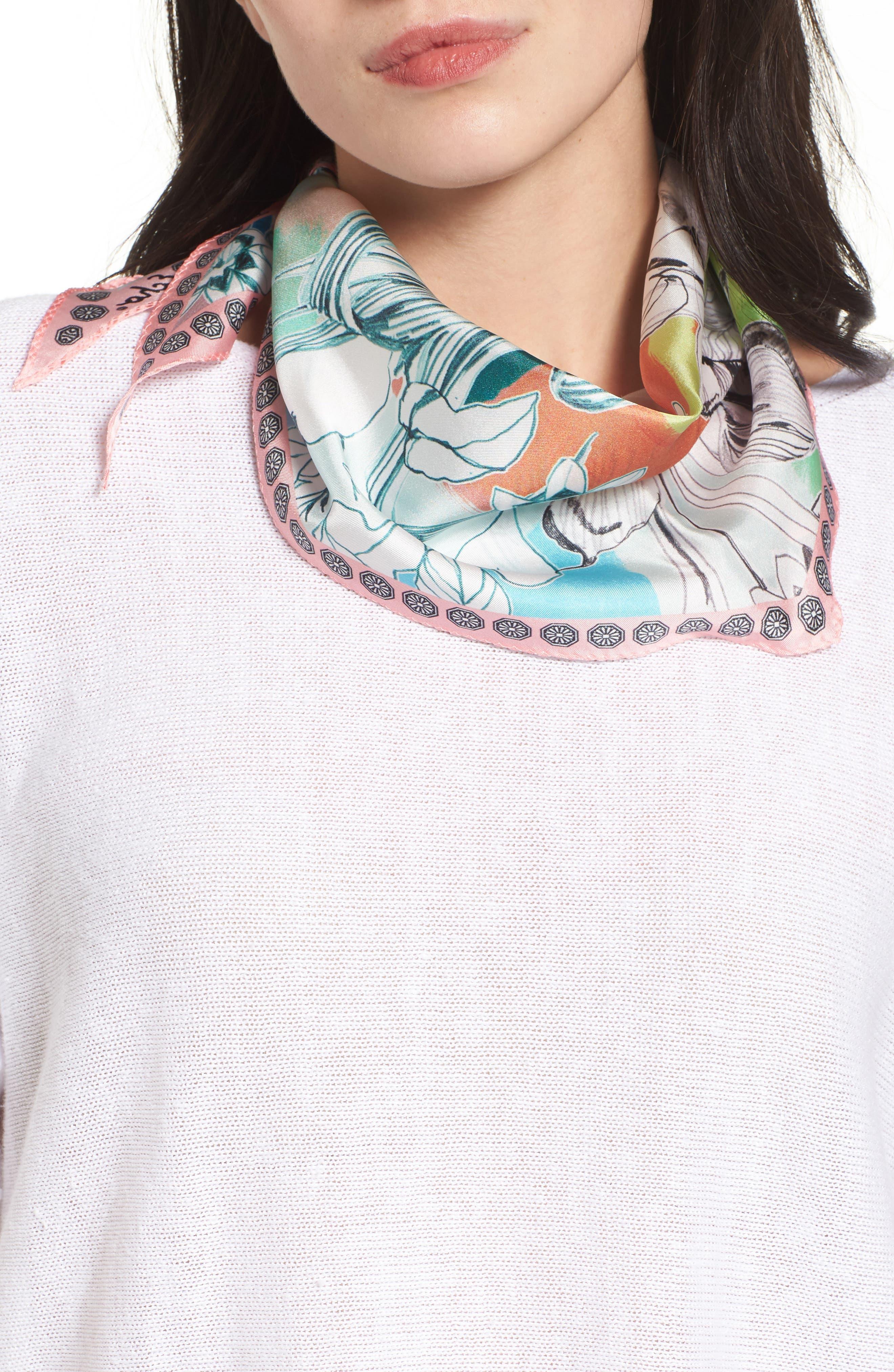 Seaside Floral Diamond Silk Scarf,                             Main thumbnail 1, color,                             100