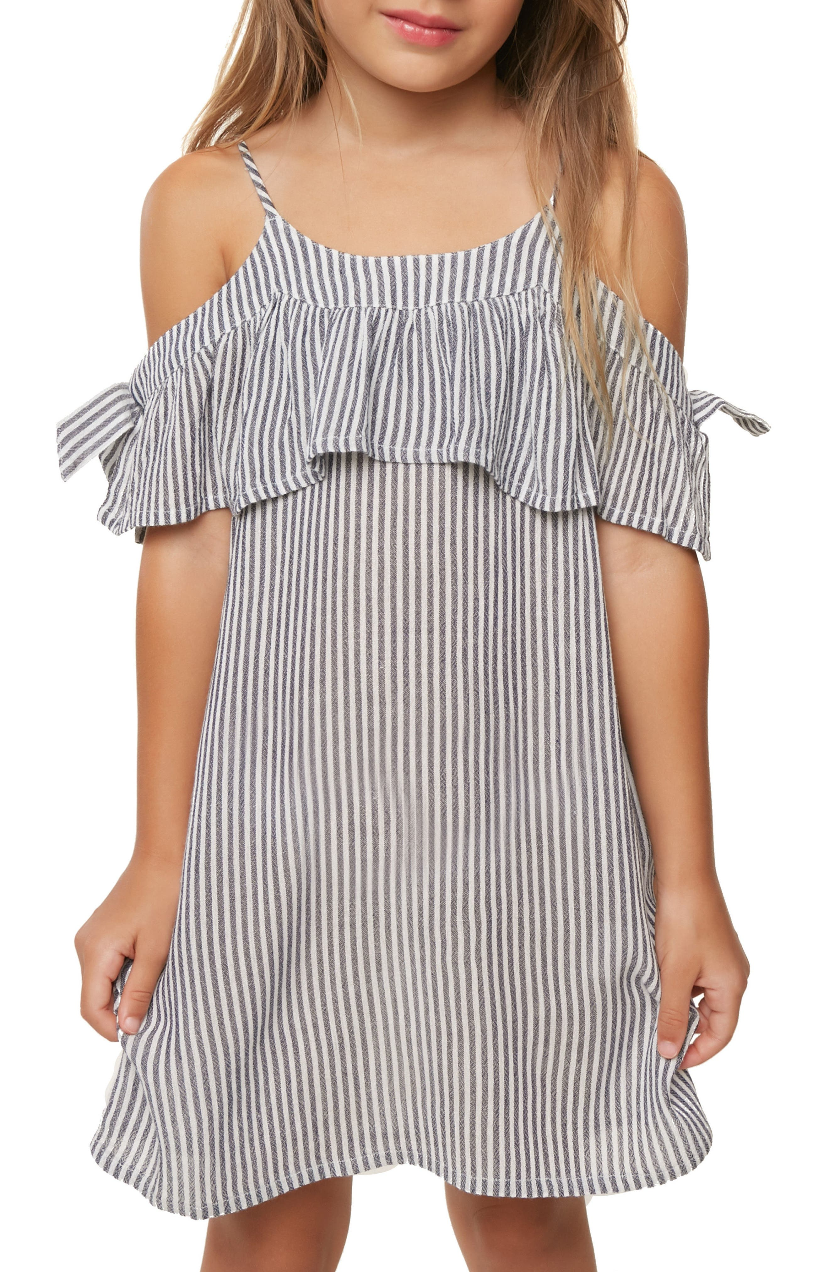 Myla Stripe Cold Shoulder Cover-Up Dress,                             Alternate thumbnail 5, color,                             WASHED INDIGO