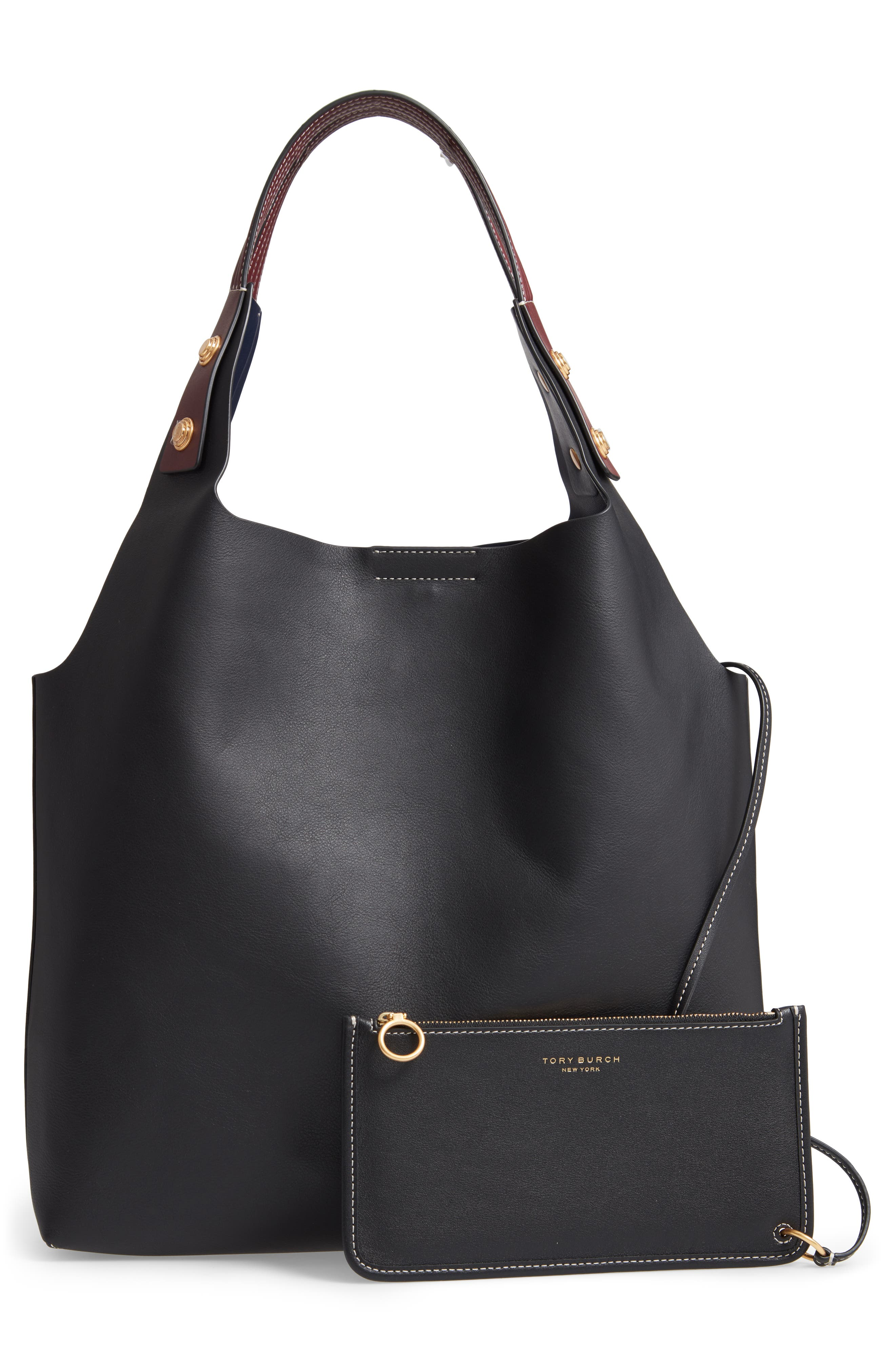 Rory Leather Tote,                             Alternate thumbnail 3, color,                             001