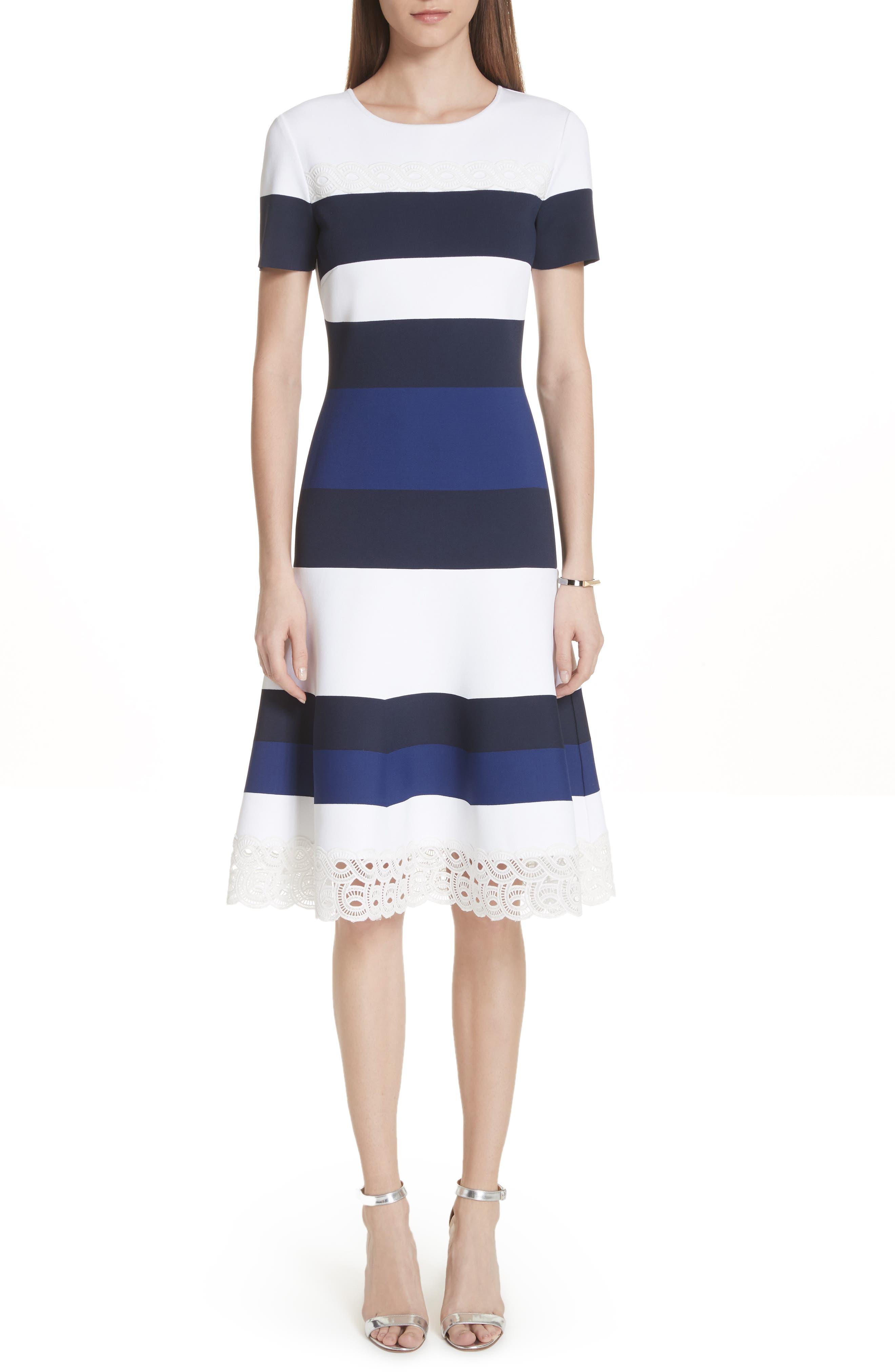 ST. JOHN Striped Luxe Sculpture Knit Lace-Trim Dress in Bianco/ Dark Cornflower/ Navy