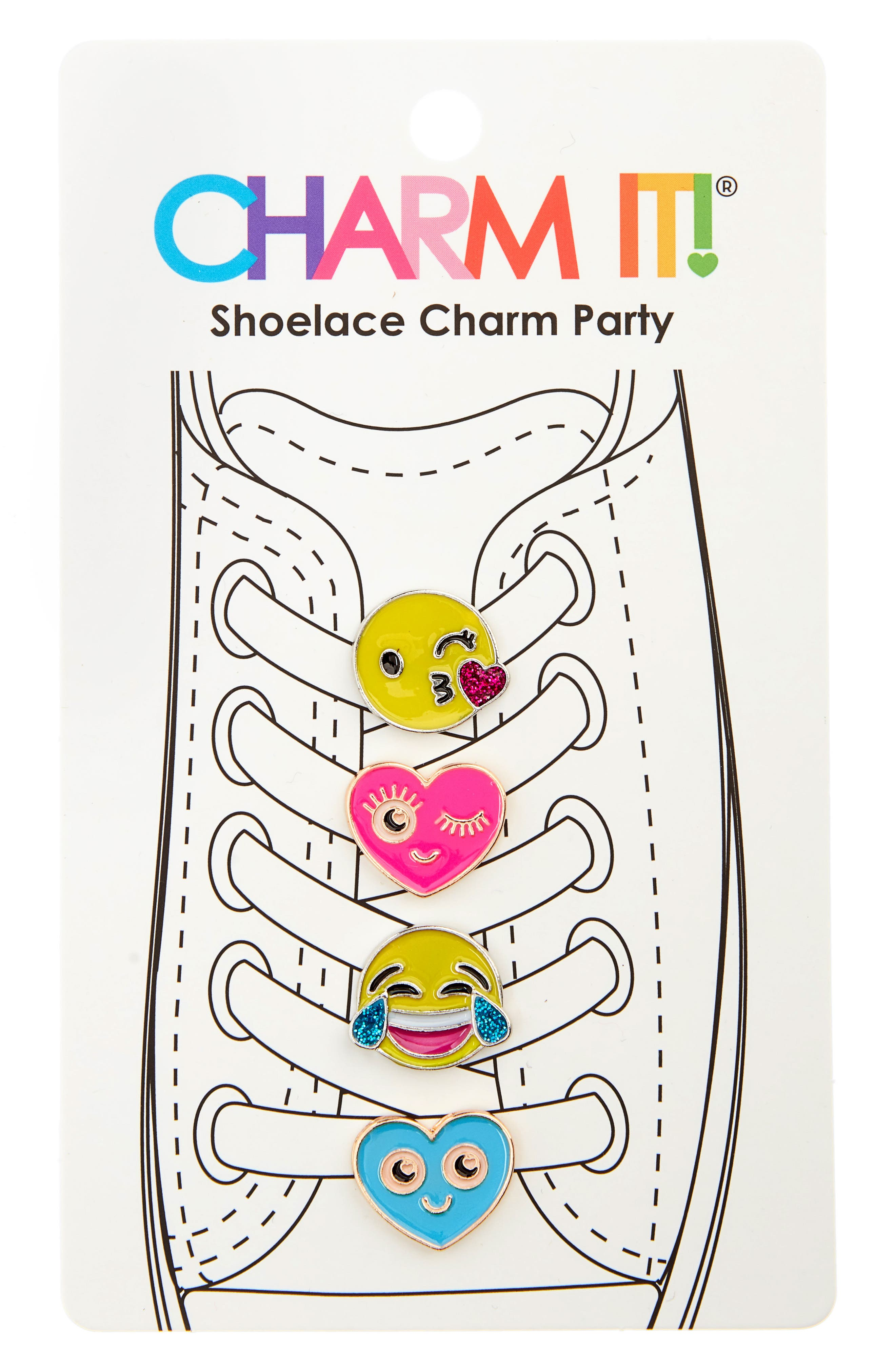 4-Pack Emoji Glitter Shoelace Charms,                         Main,                         color, MULTI