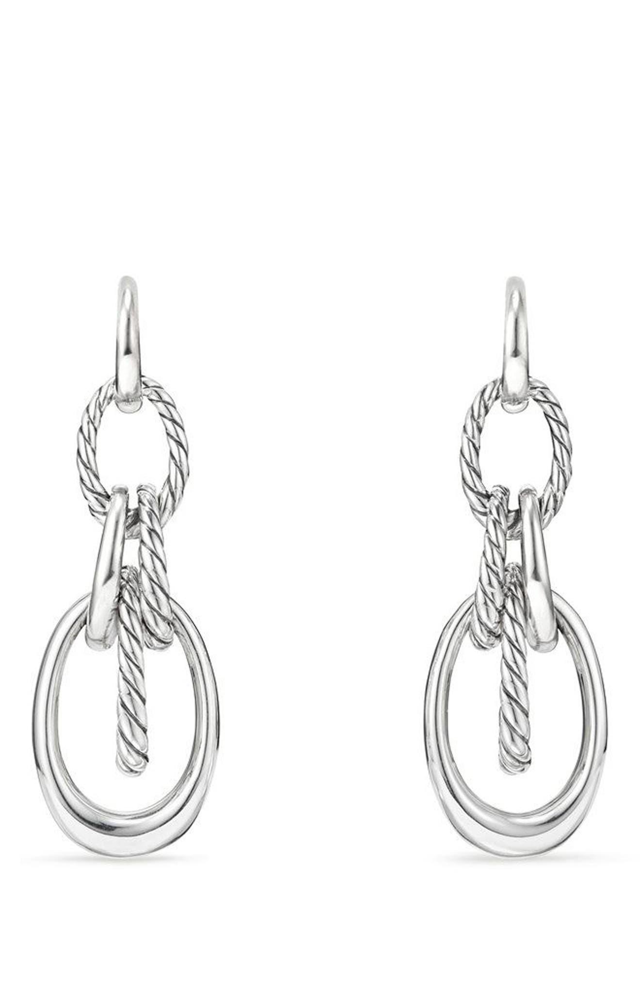 Pure Form<sup>®</sup> Drop Earrings,                             Main thumbnail 1, color,                             SILVER/ DIAMOND