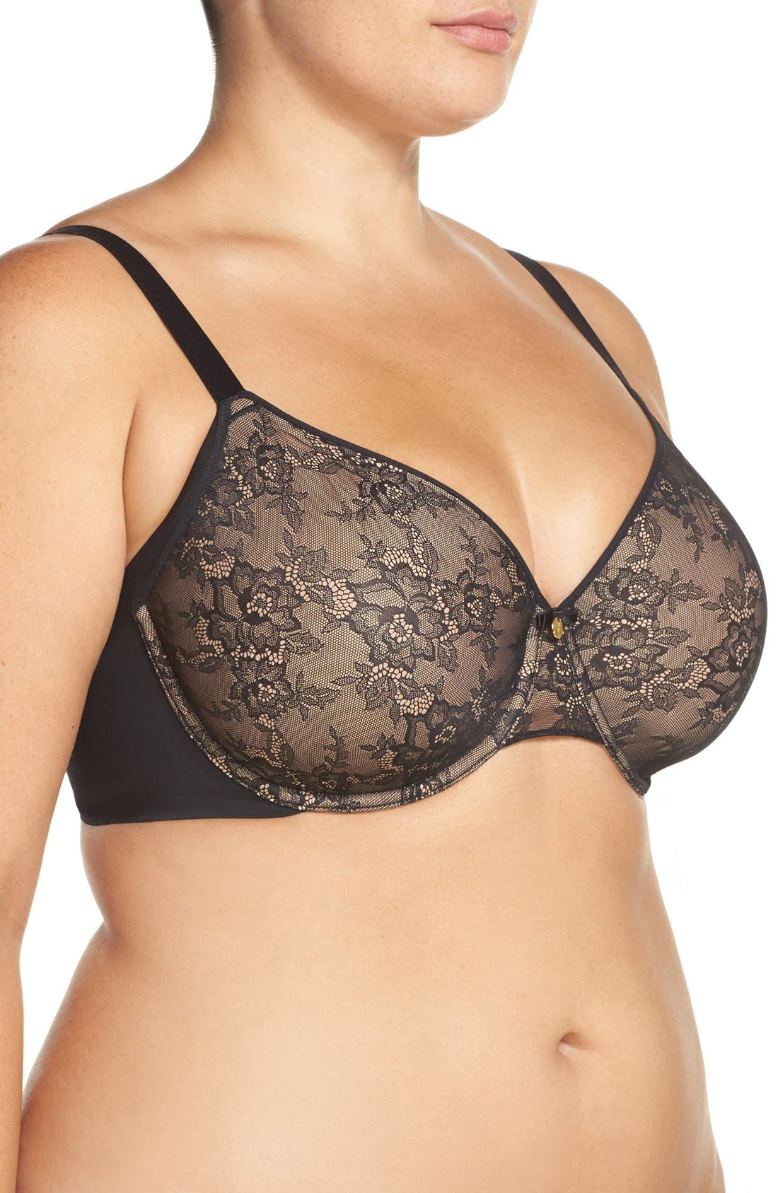 Smooth Solutions Underwire Molded Bra,                             Alternate thumbnail 4, color,                             BLACK
