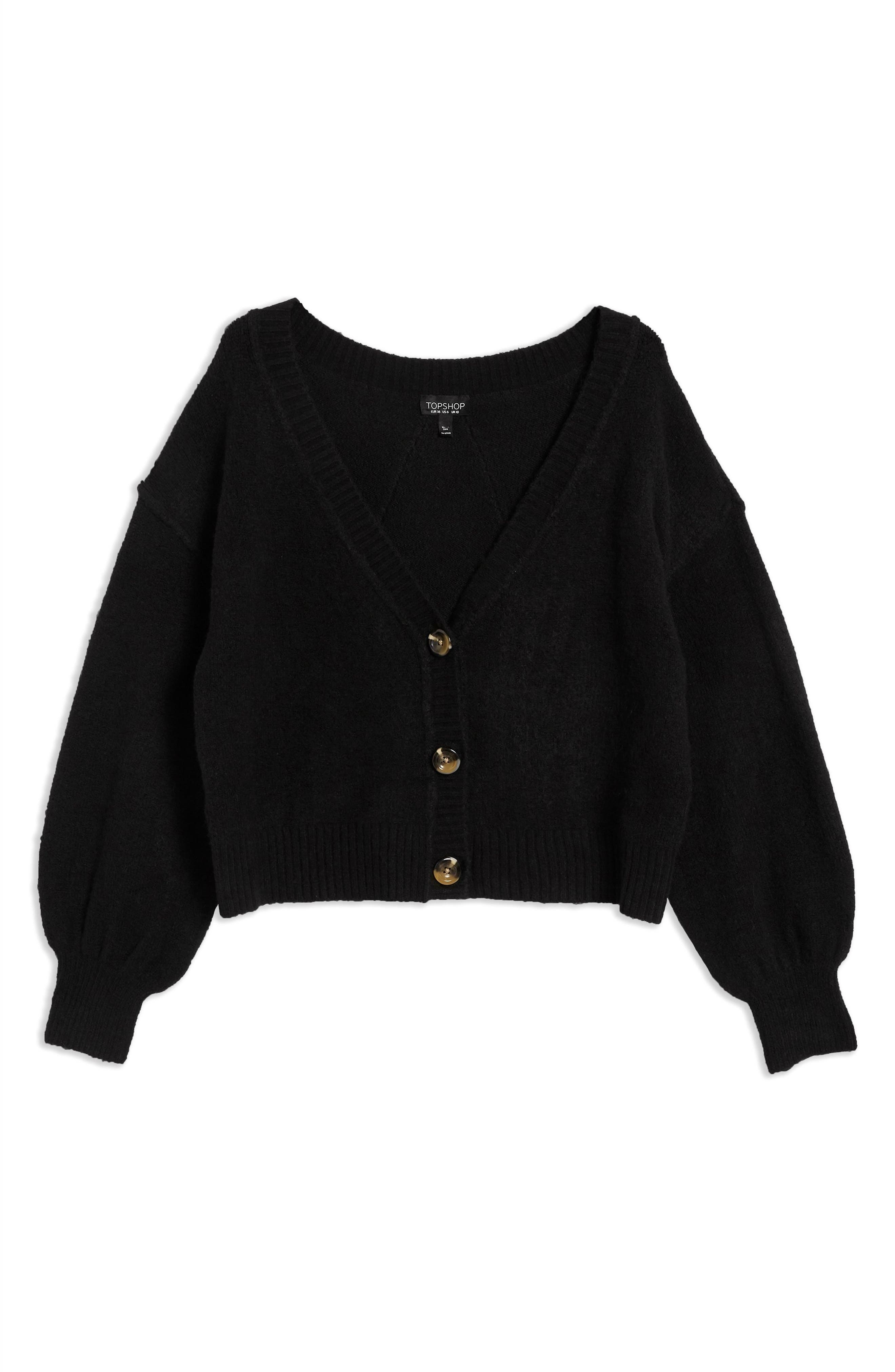 TOPSHOP,                             Horn Button Crop Cardigan,                             Alternate thumbnail 3, color,                             BLACK