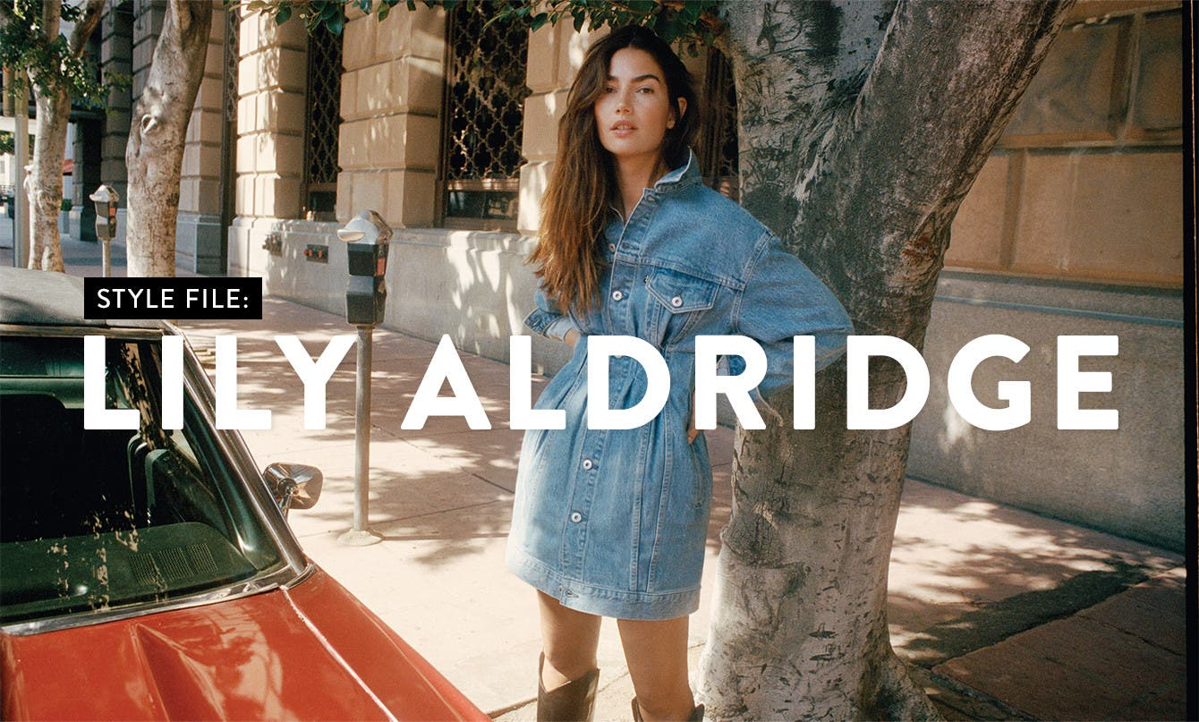 Model Lily Aldridge in Levi's Made & Crafted.
