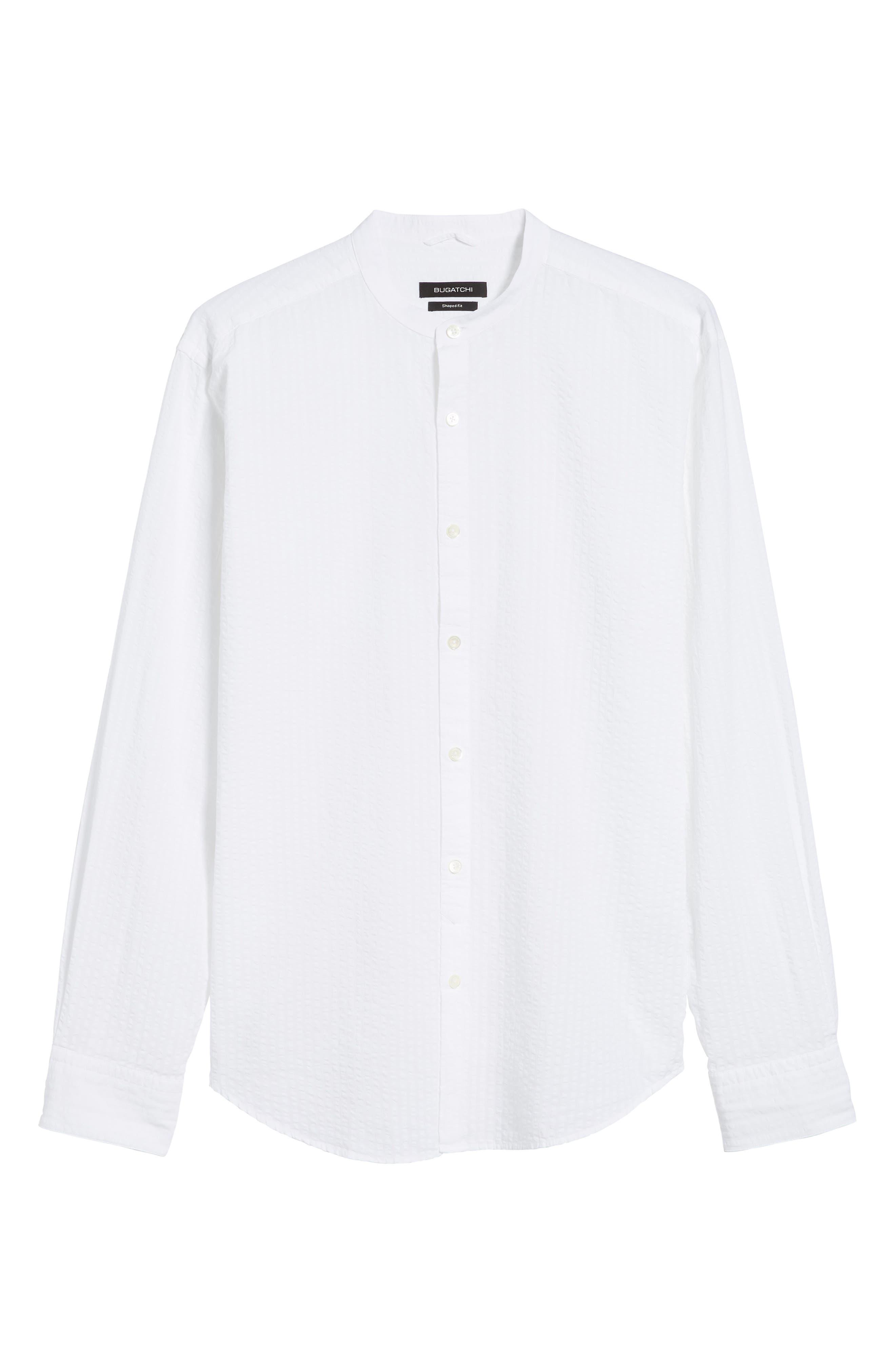 Shaped Fit Band Collar Seersucker Sport Shirt,                             Alternate thumbnail 6, color,                             100