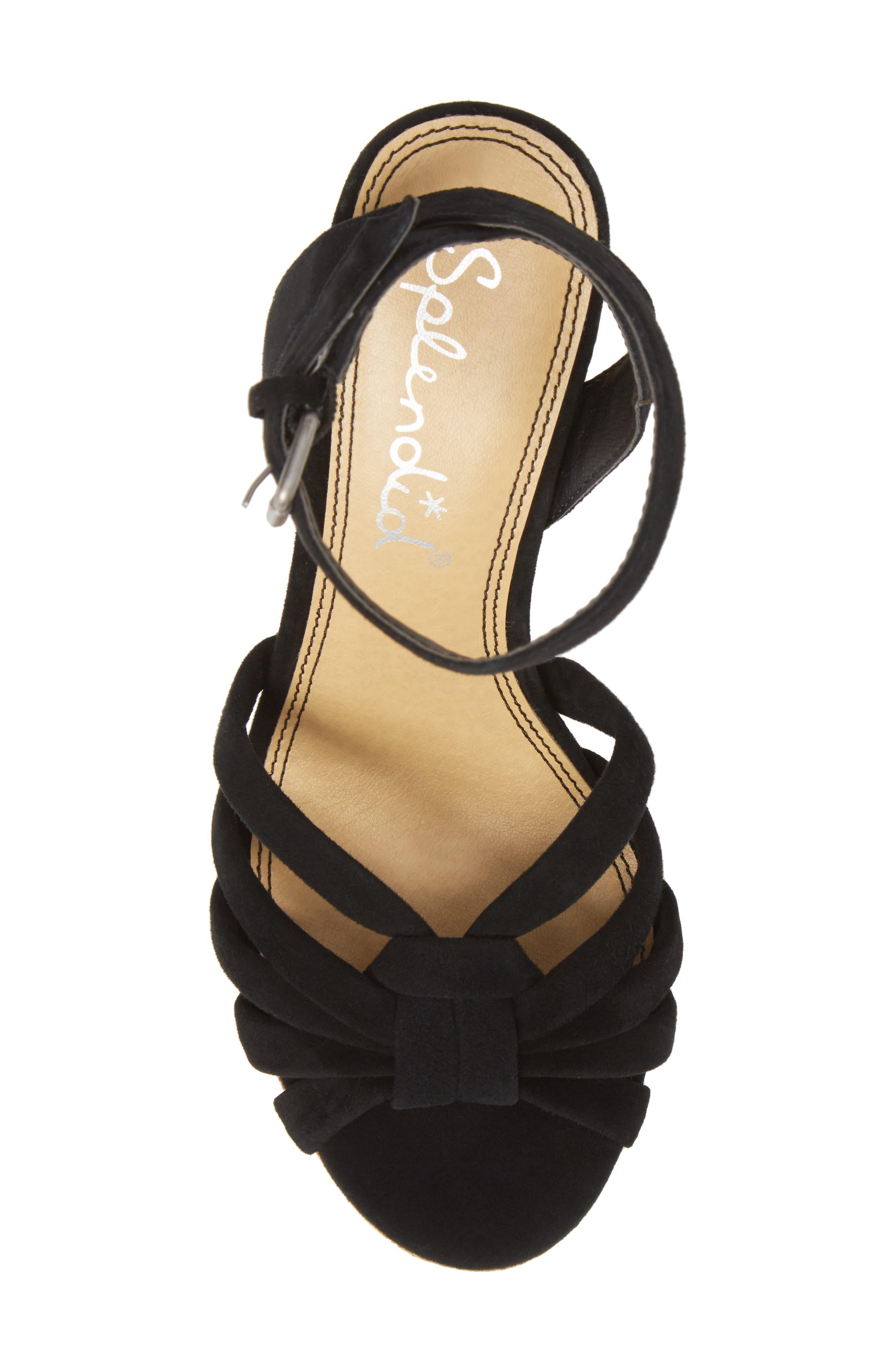 Fallon Wedge Sandal,                             Alternate thumbnail 5, color,                             BLACK SUEDE