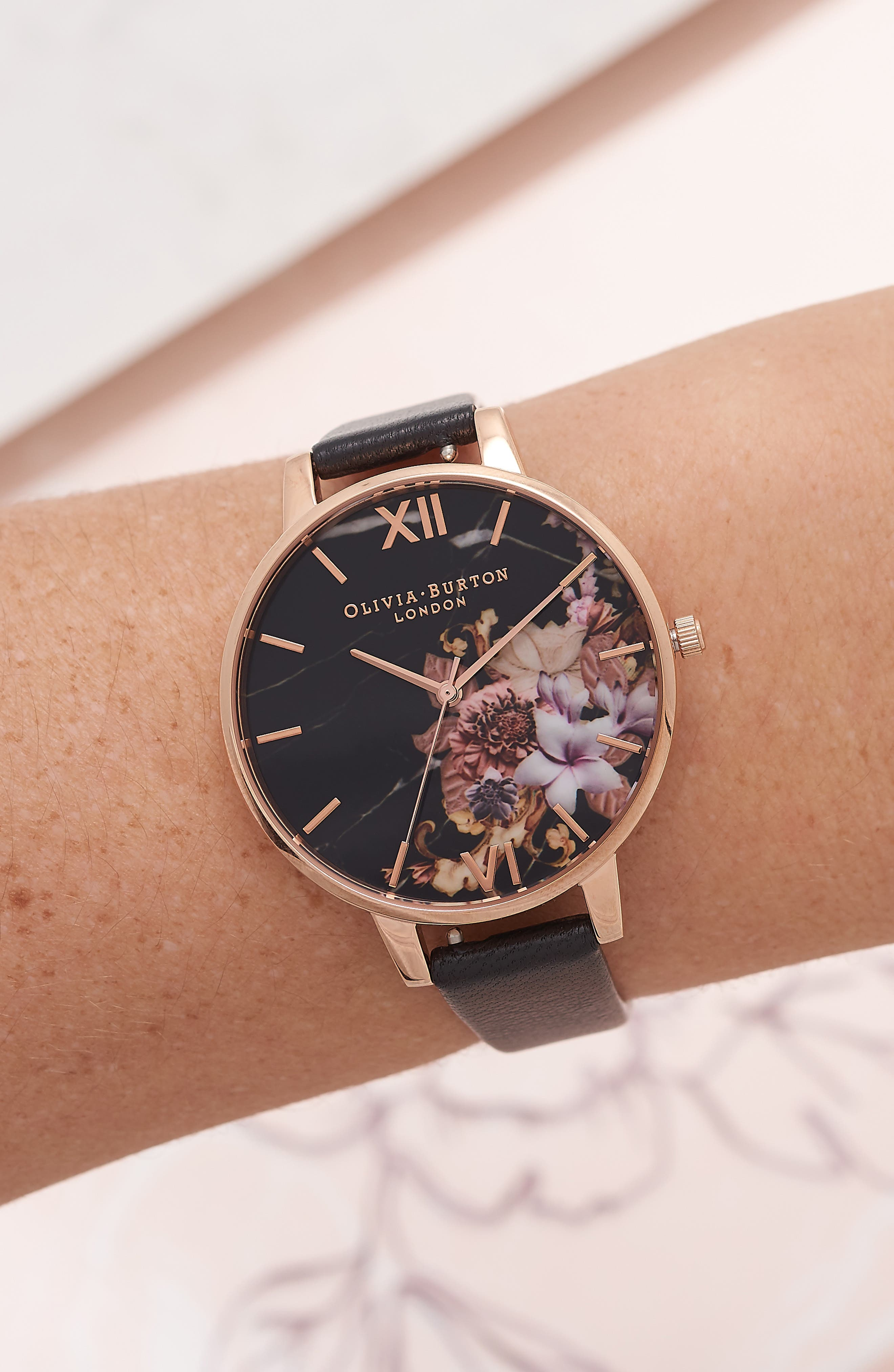Marble Floral Leather Strap Watch, 38mm,                             Alternate thumbnail 2, color,                             001