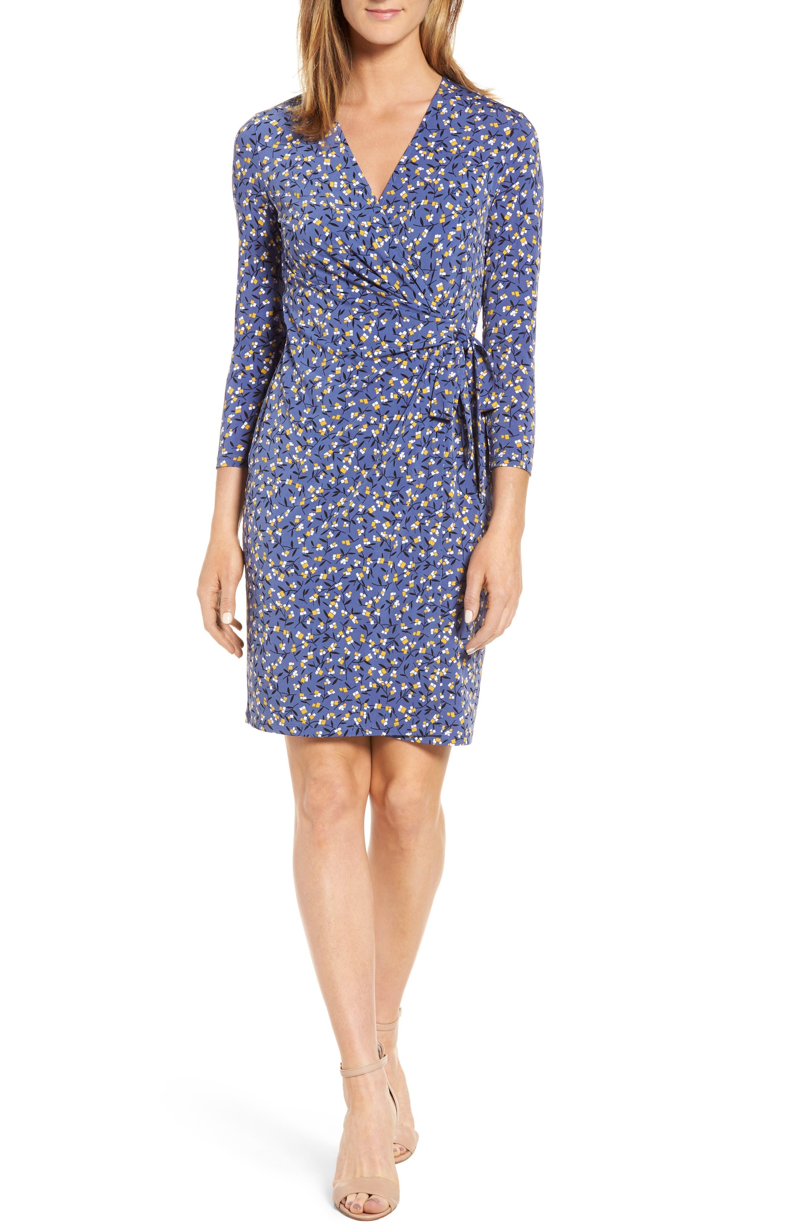 Dot Print Faux Wrap Dress,                         Main,                         color, 420
