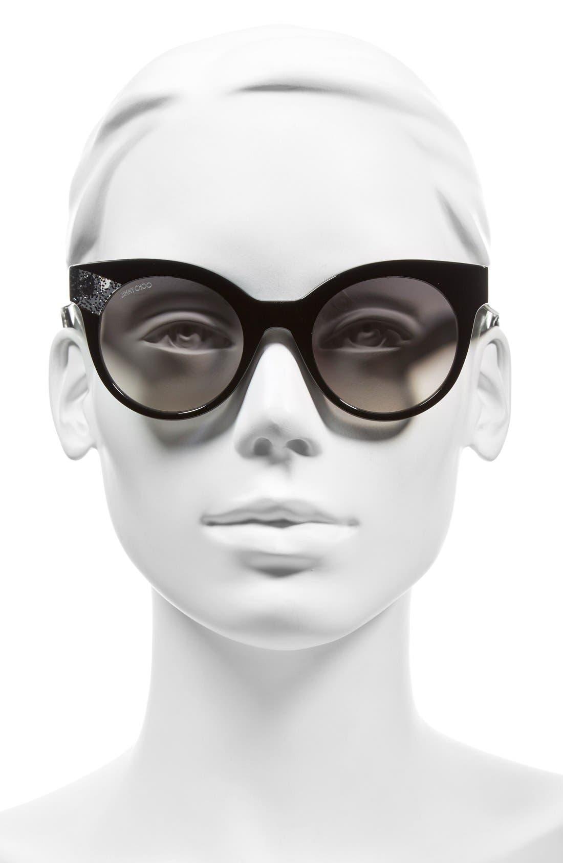 'Mirta' 49mm Glitter Detail Cat Eye Sunglasses,                             Alternate thumbnail 2, color,                             001