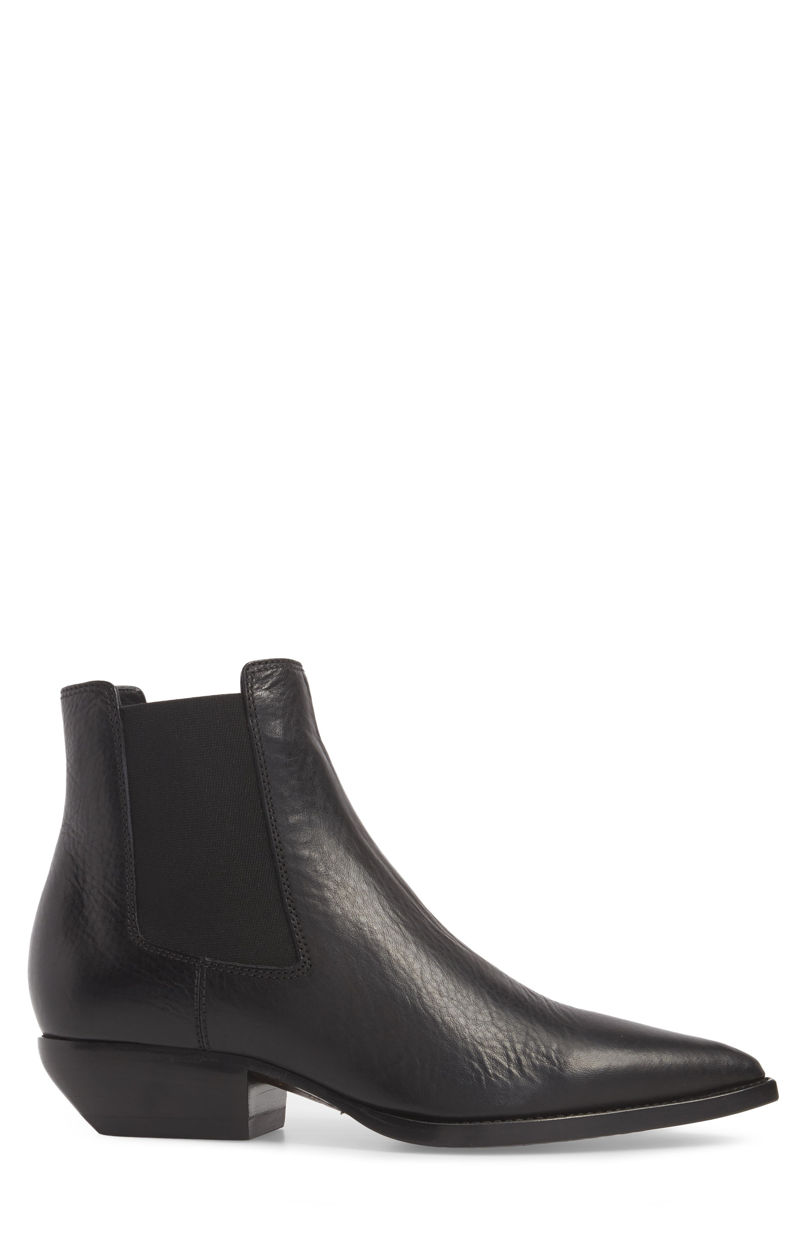 Theo 40 Chelsea Boot,                             Alternate thumbnail 3, color,                             BLACK LEATHER