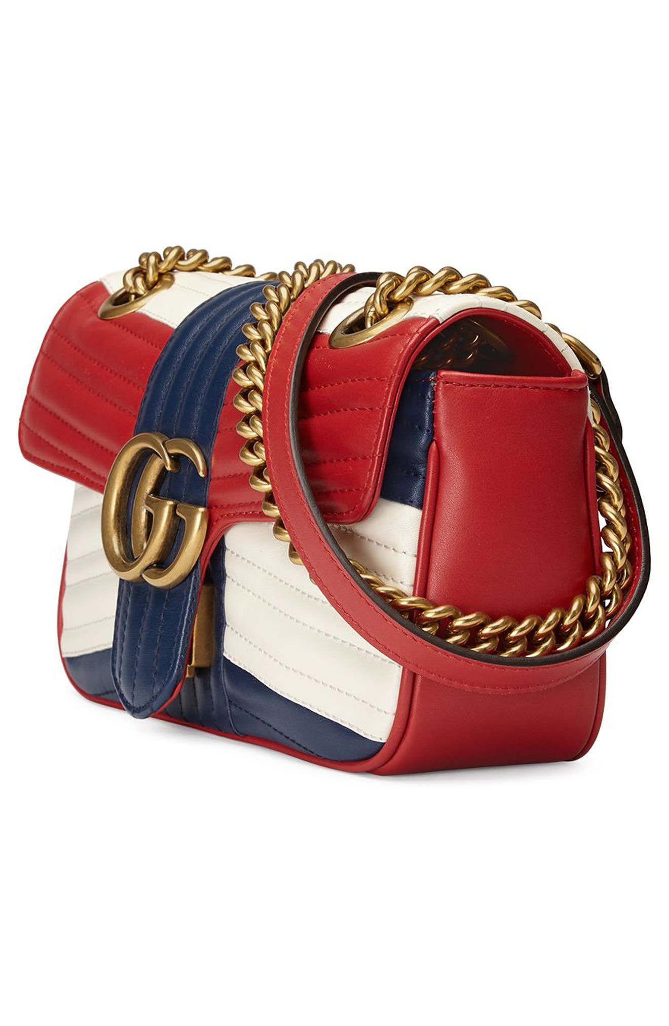 Mini GG Marmont 2.0 Tricolor Matelassé Leather Shoulder Bag,                             Alternate thumbnail 4, color,                             625