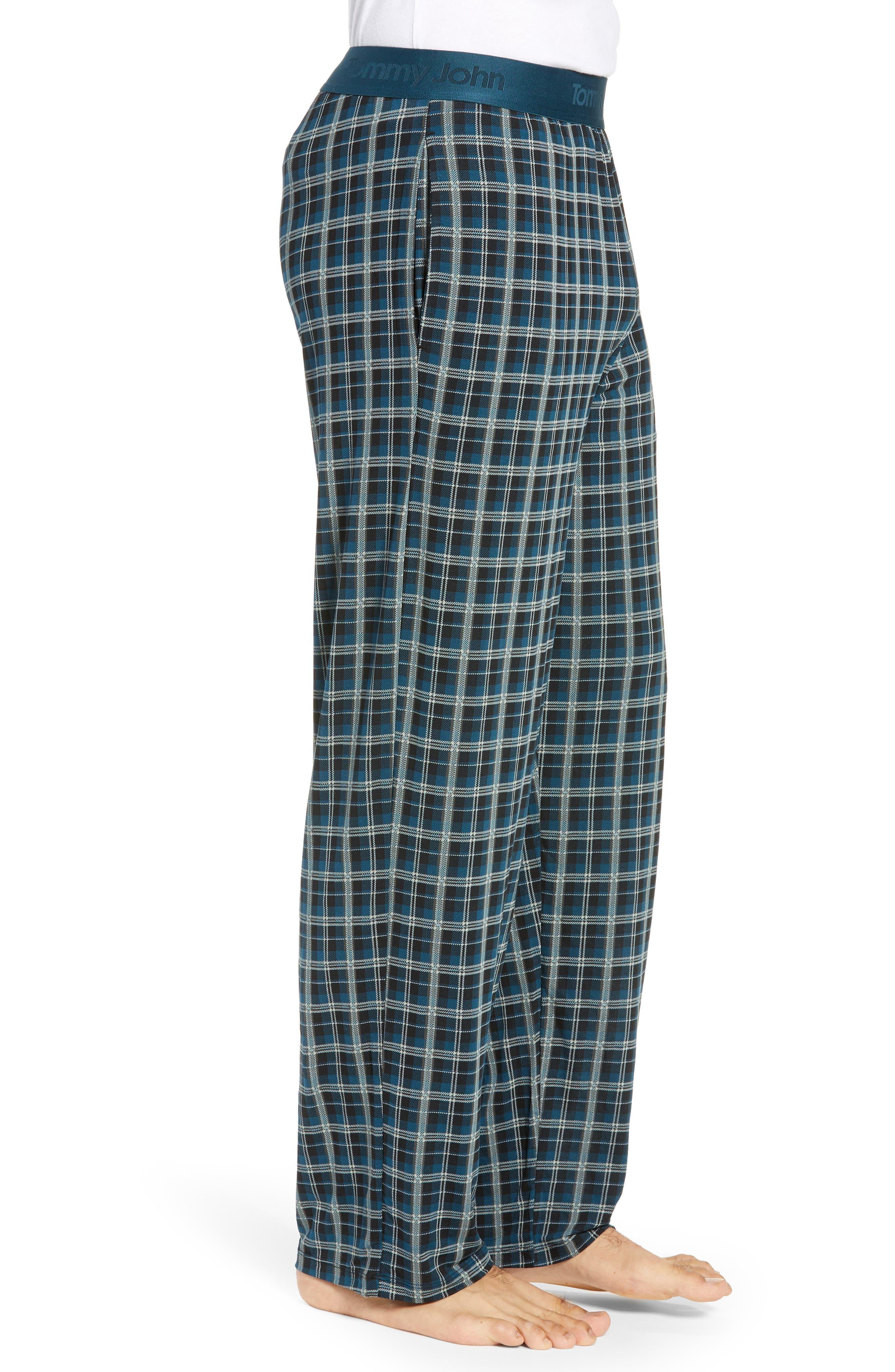 Second Skin Stretch Modal Pajama Pants,                             Alternate thumbnail 3, color,                             REFLECTING POND PLAID