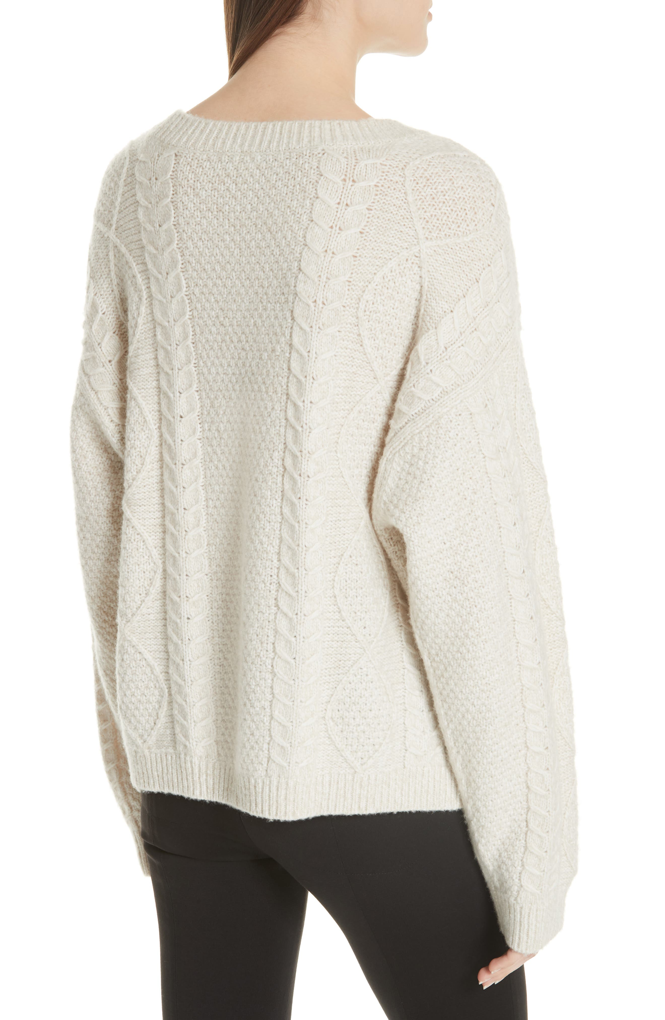 Wool & Cashmere Blend Cable Knit Sweater,                             Alternate thumbnail 2, color,                             901