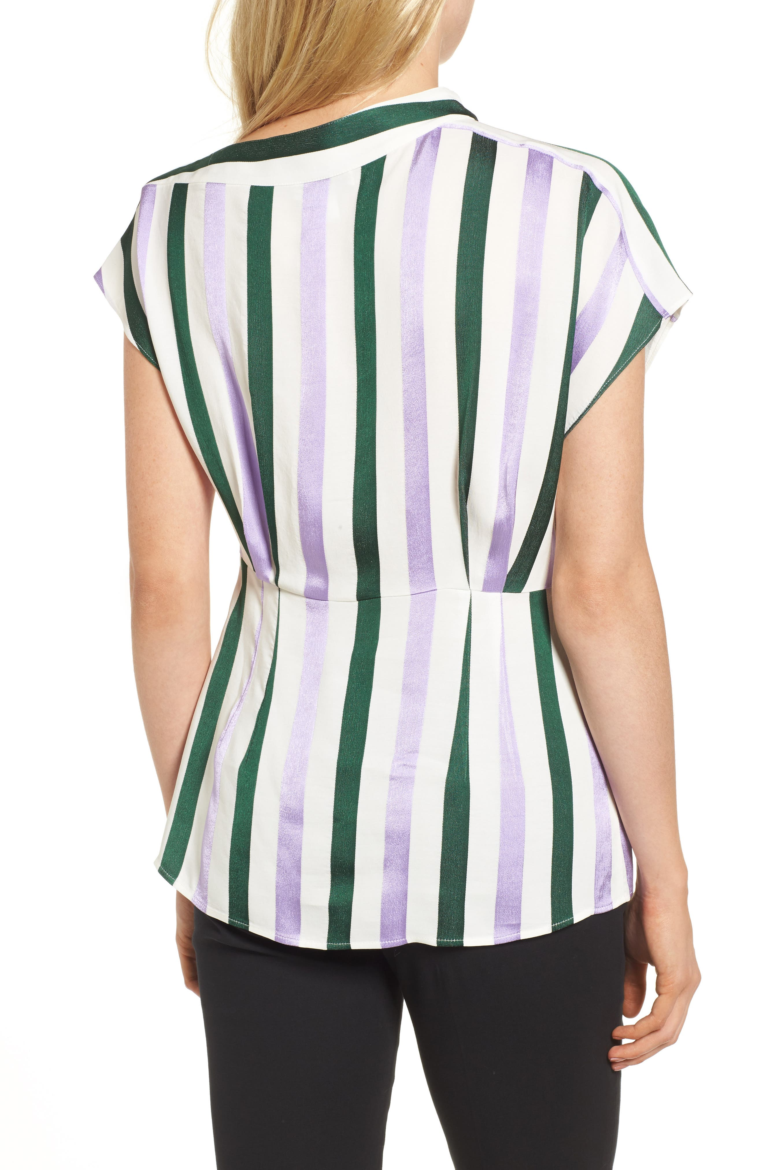 Stripe Draped Peplum Top,                             Alternate thumbnail 2, color,                             310