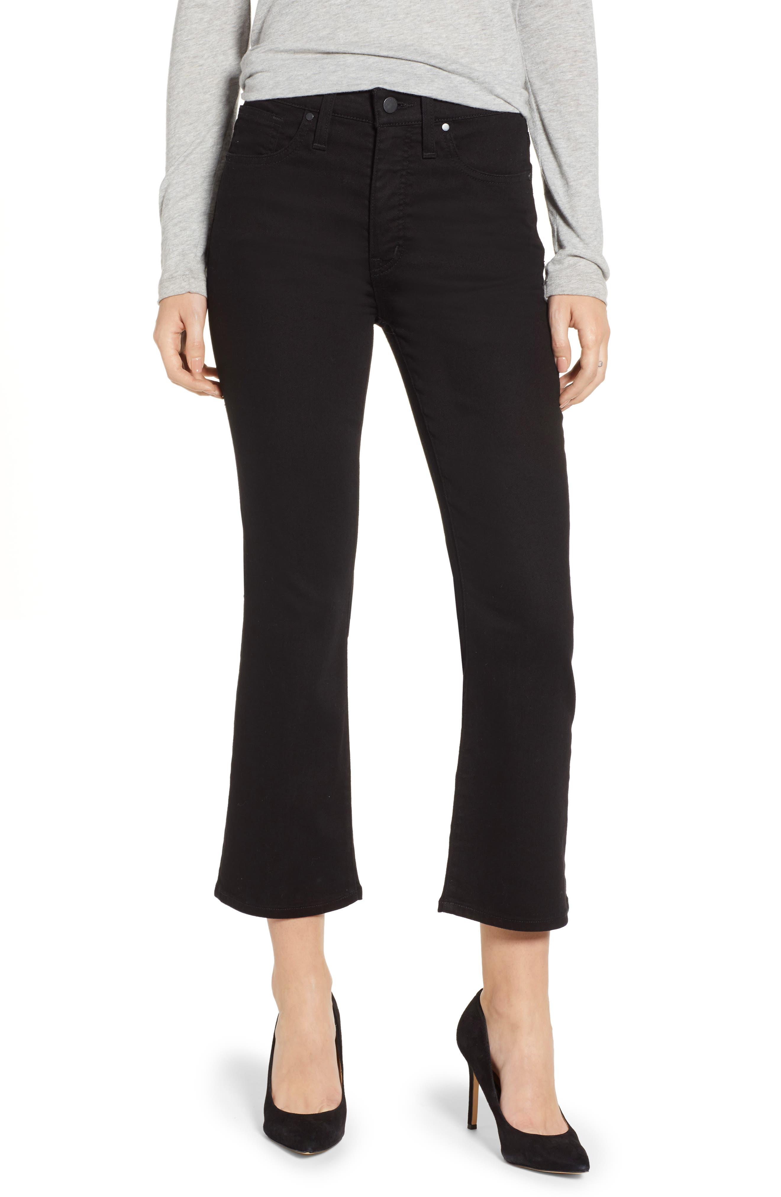 Kick Flare Crop Jeans,                         Main,                         color, BLACK
