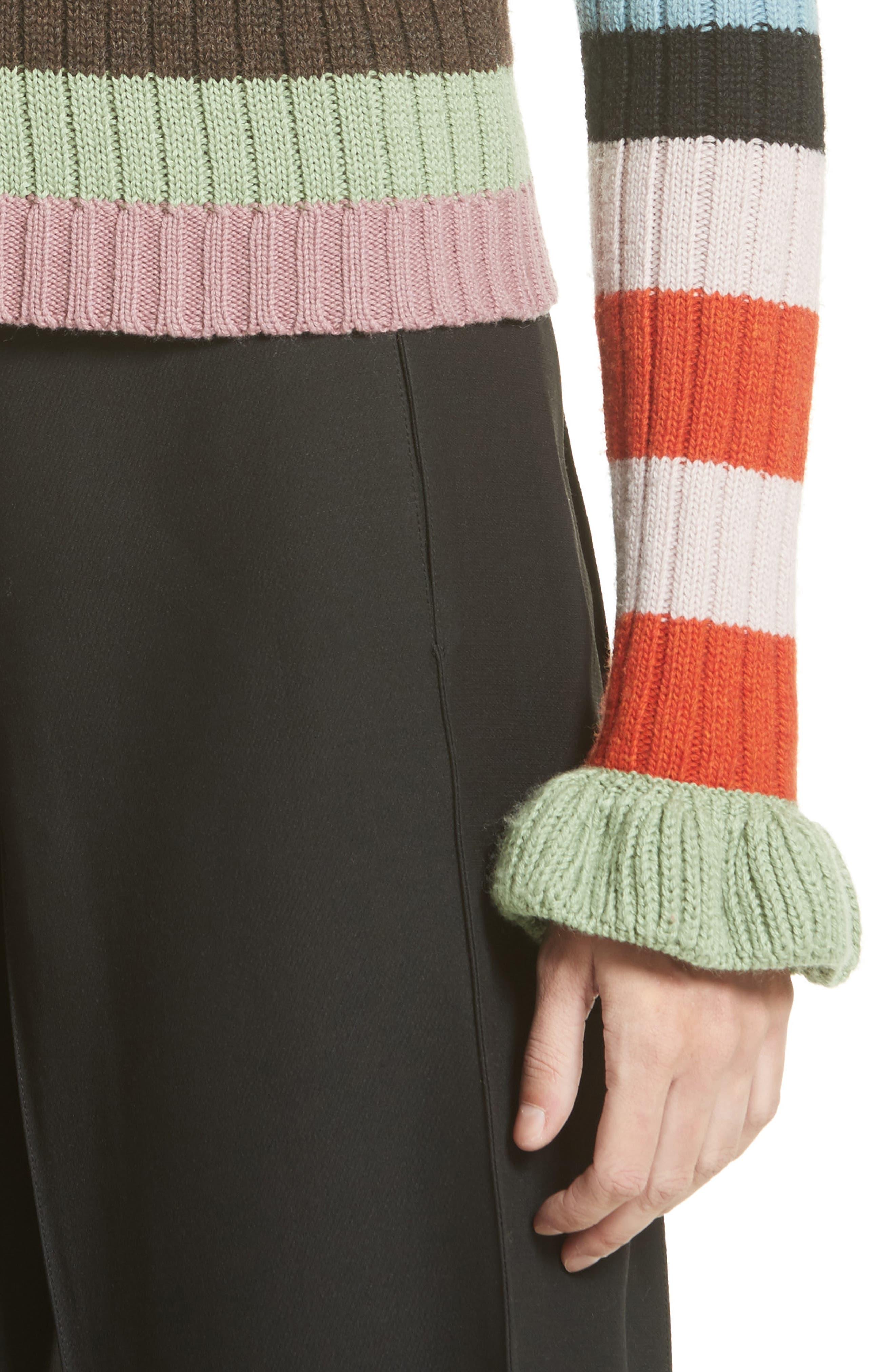 Stripe Wool Sweater,                             Alternate thumbnail 4, color,                             020