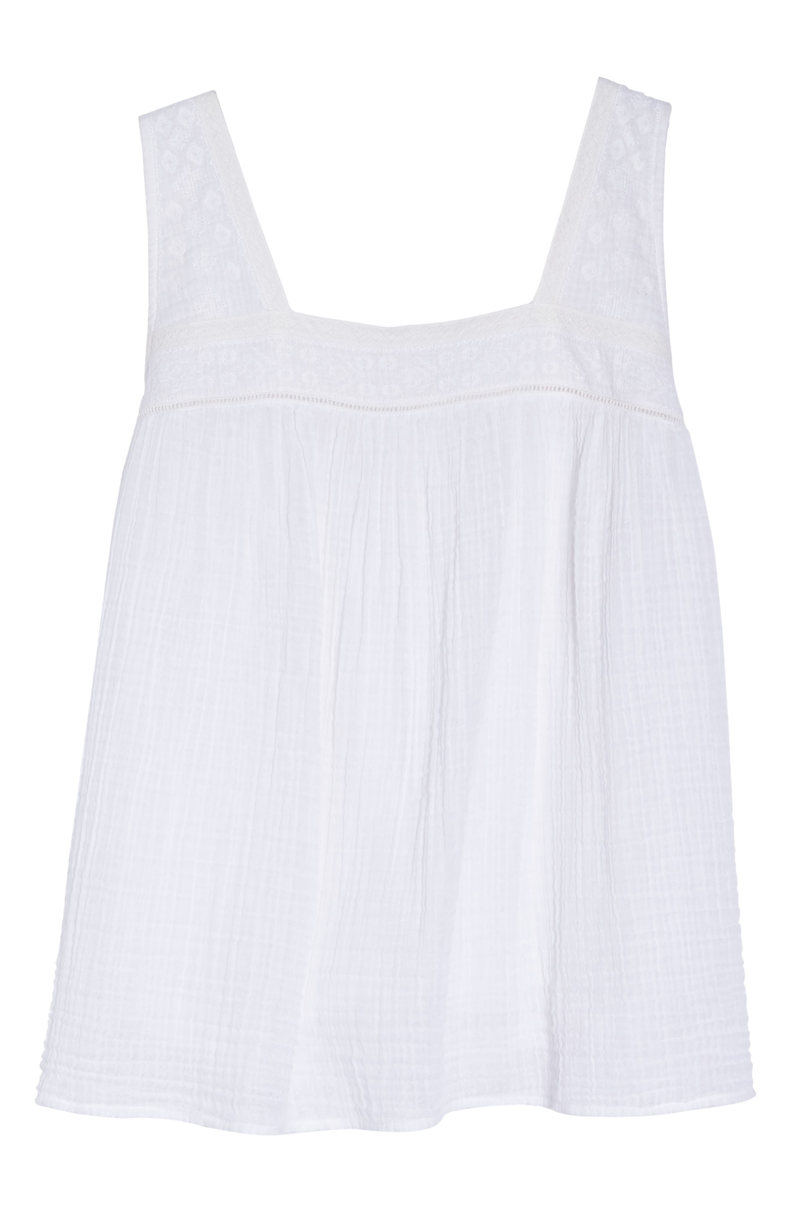 Embroidered Neck Swing Tank,                             Alternate thumbnail 7, color,                             WHITE