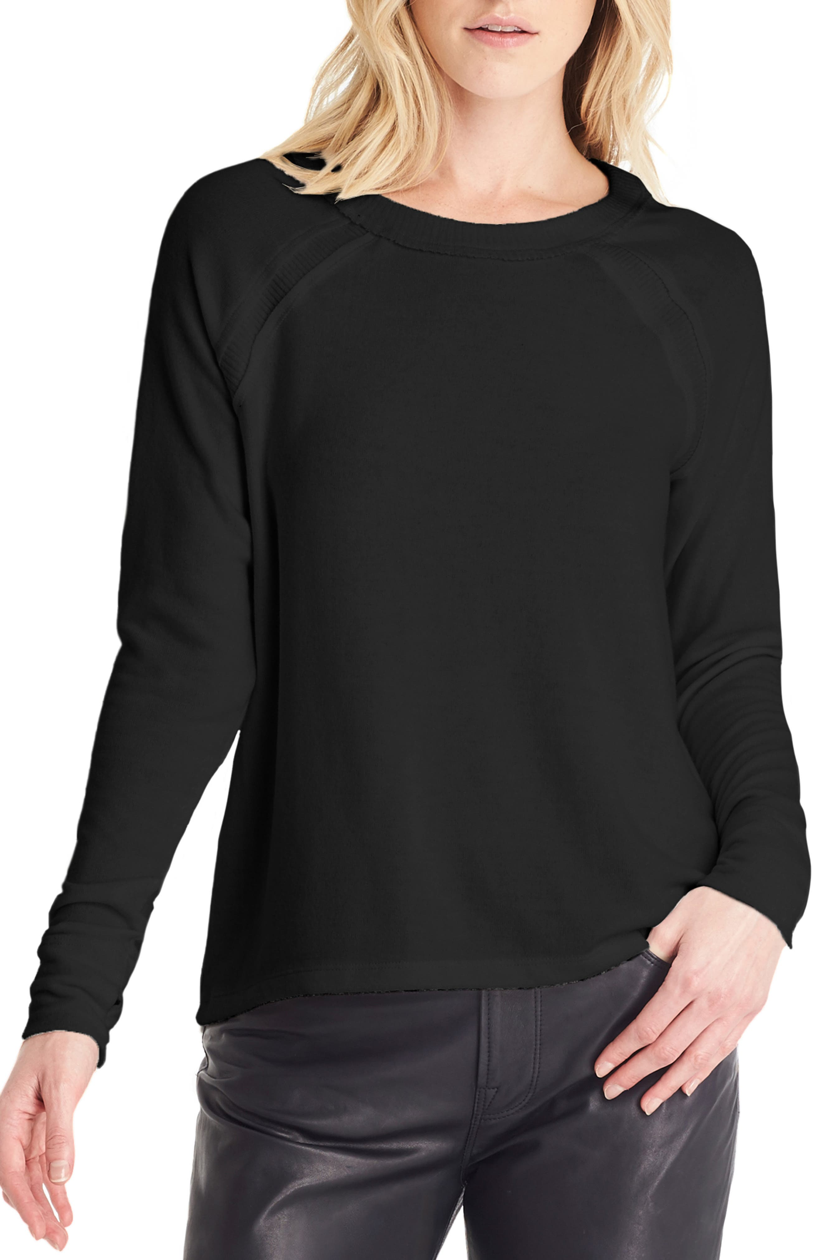 Michael Stars Thumbhole Sleeve Top, Black