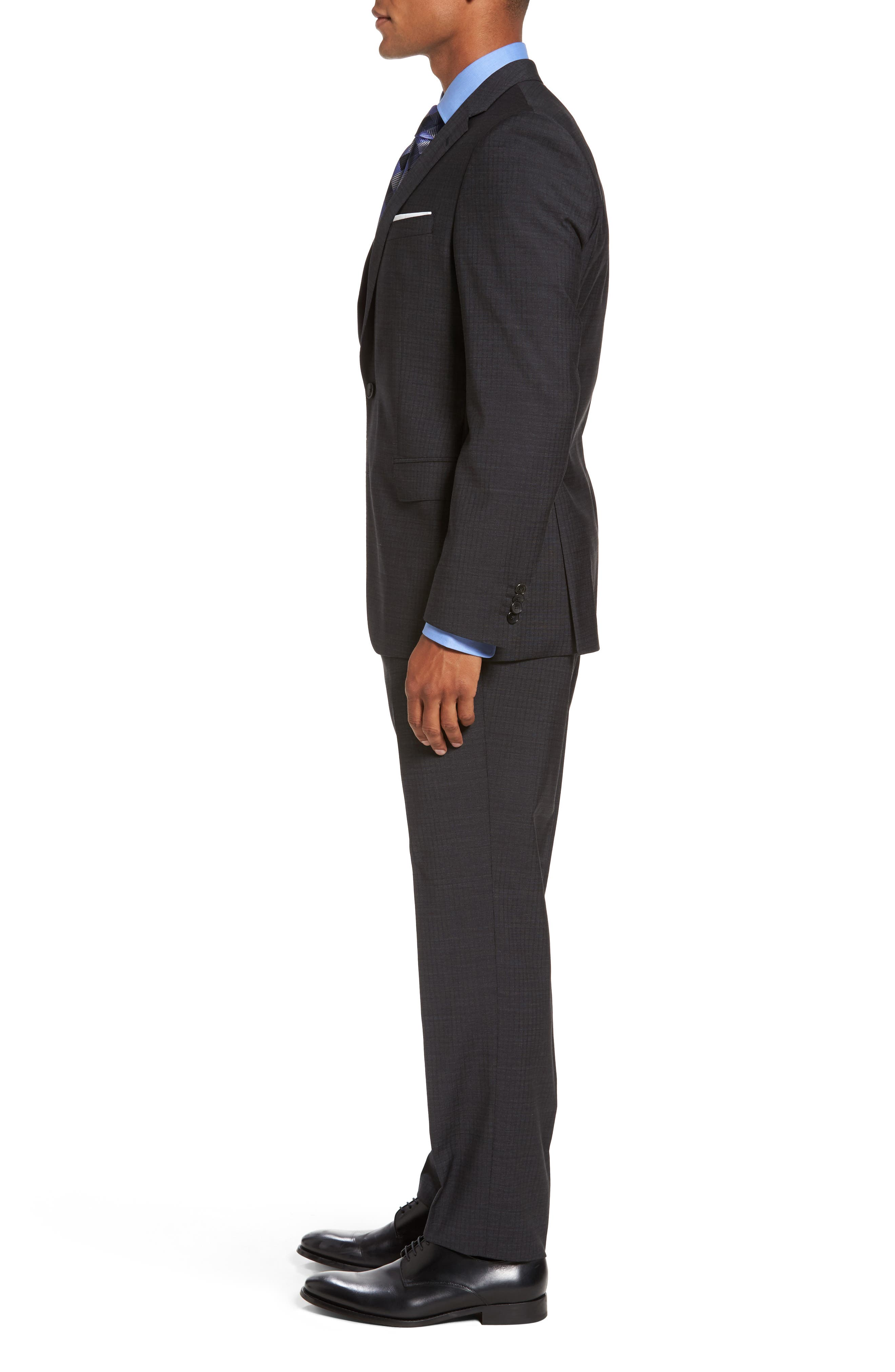Huge/Genius Trim Fit Check Wool Suit,                             Alternate thumbnail 3, color,                             061