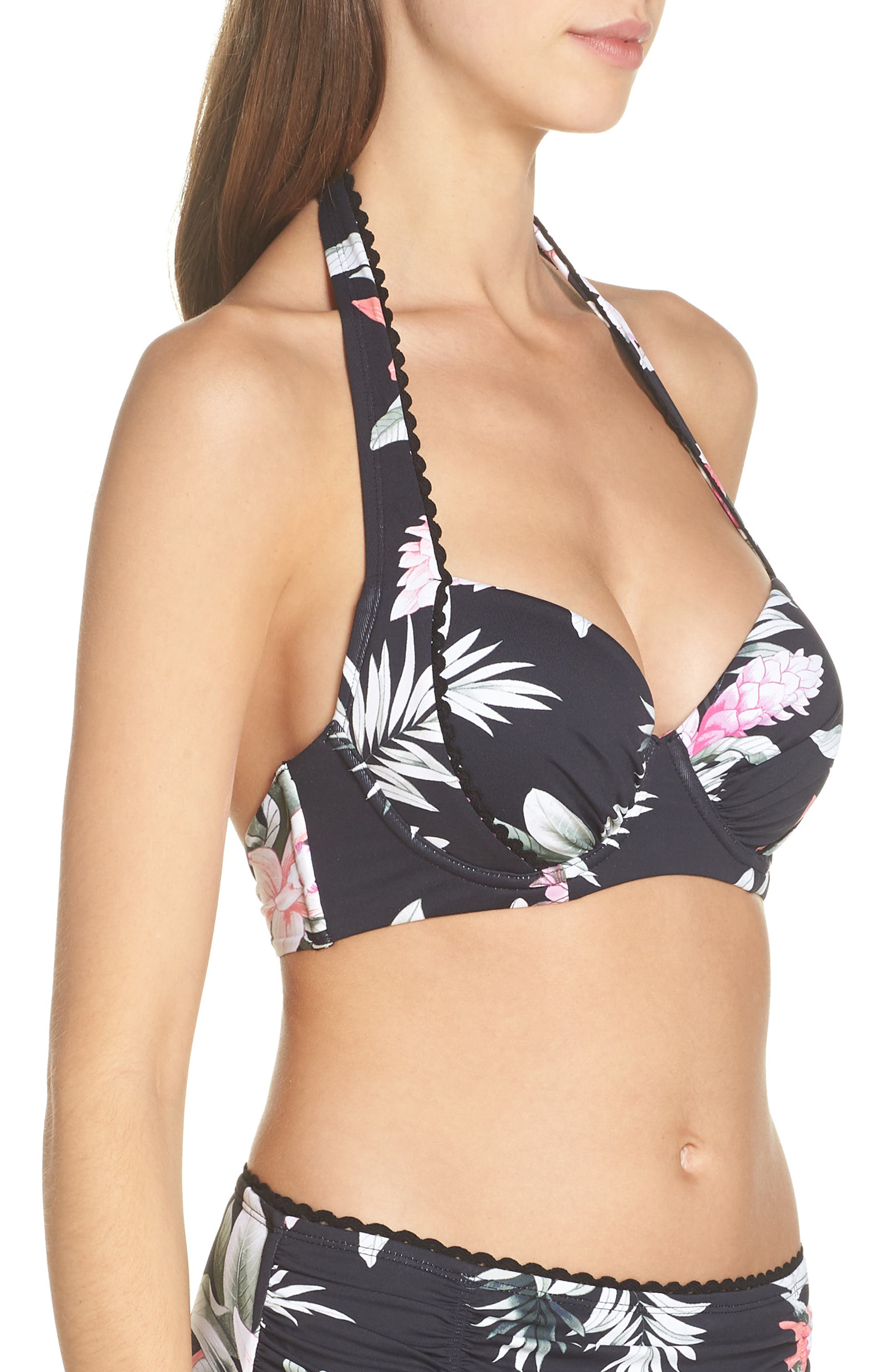 Ginger Flowers Underwire Bikini Top,                             Alternate thumbnail 3, color,                             BLACK