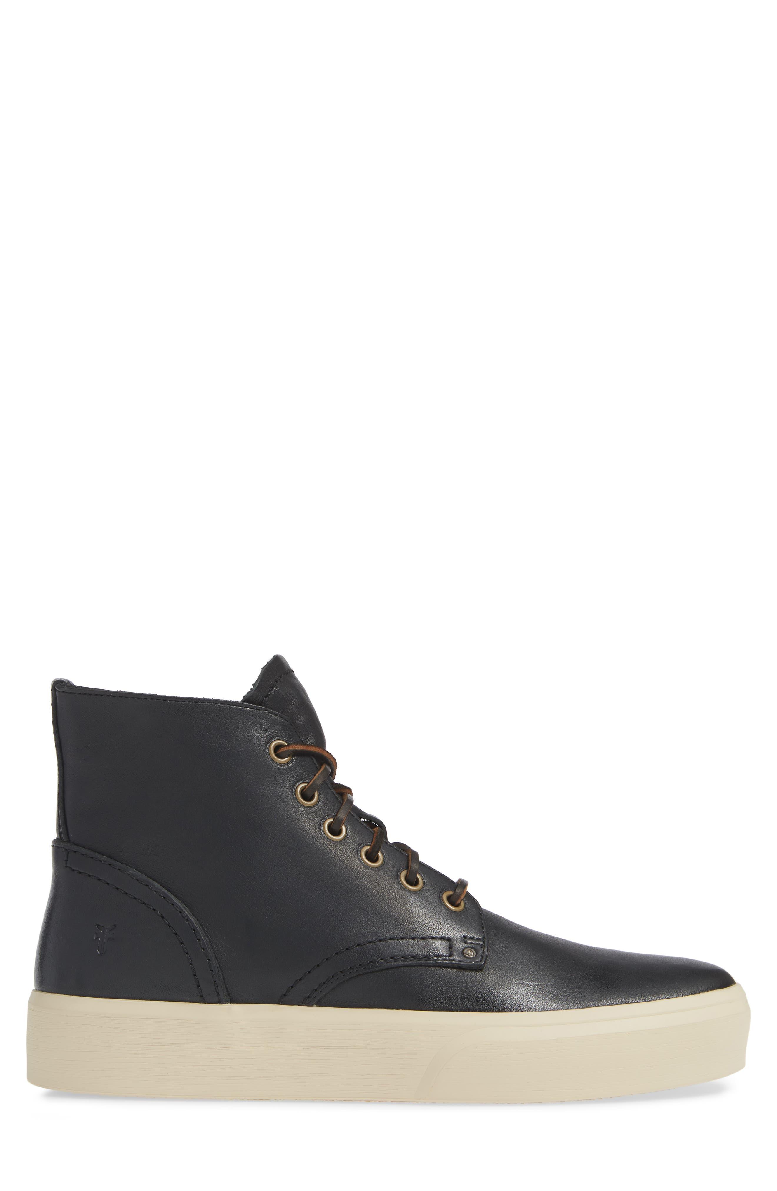 Beacon High Top Platform Sneaker,                             Alternate thumbnail 3, color,                             BLACK