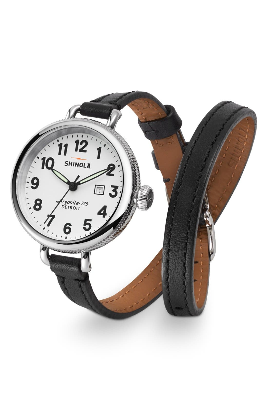 'The Birdy' Double Wrap Leather Strap Watch, 34mm,                             Alternate thumbnail 34, color,