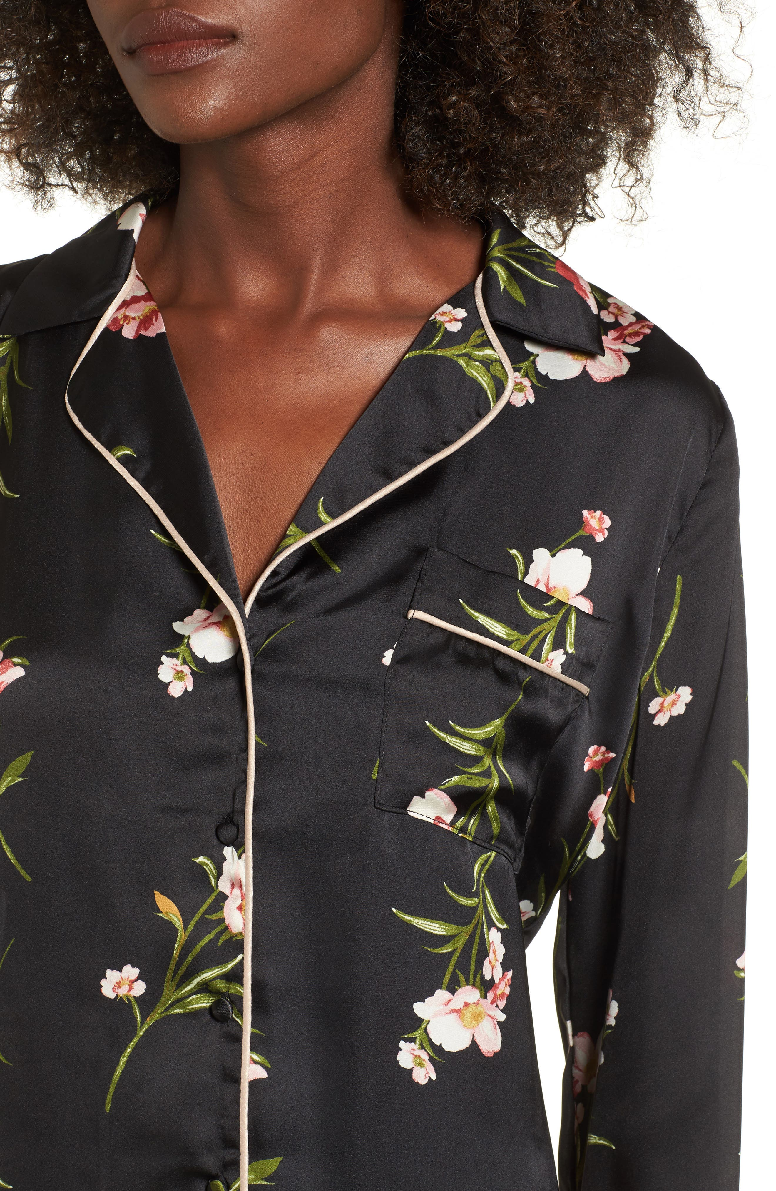 Floral PJ Shirt,                             Alternate thumbnail 4, color,                             001