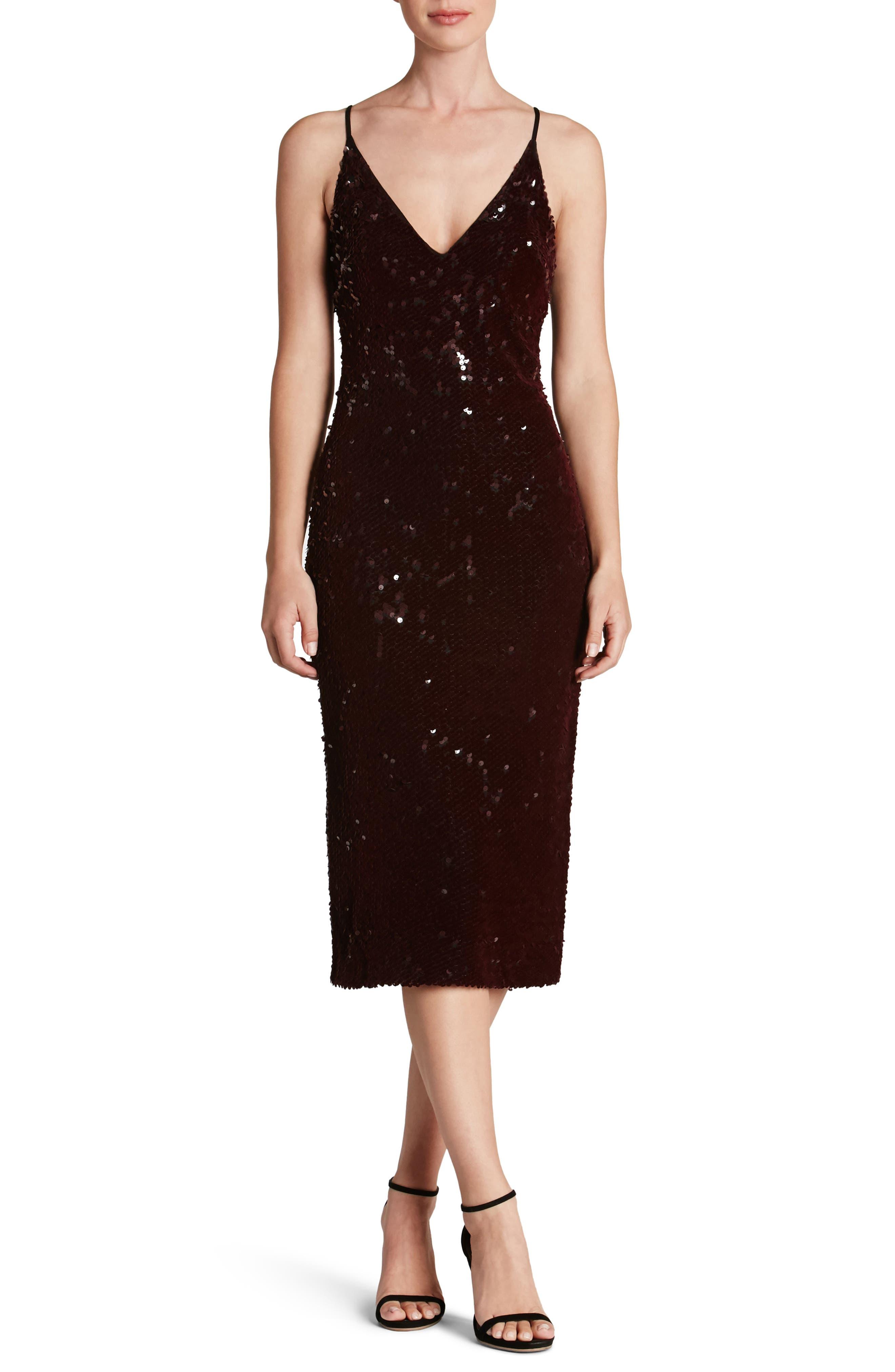 Nina Sequin Velvet Body-Con Dress,                             Main thumbnail 3, color,