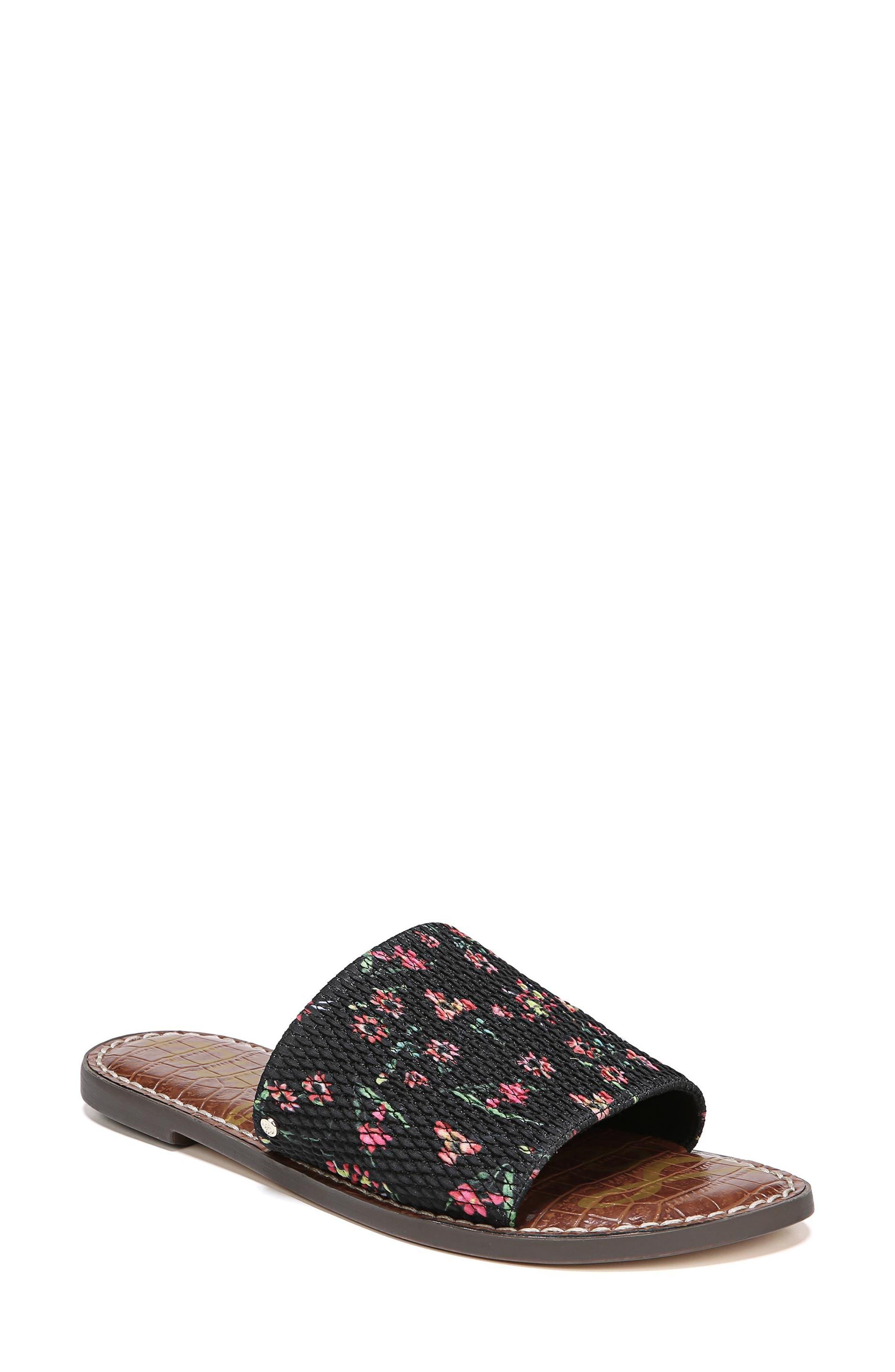 Gio Slide Sandal,                             Main thumbnail 1, color,                             BLACK FLORAL PRINT FABRIC