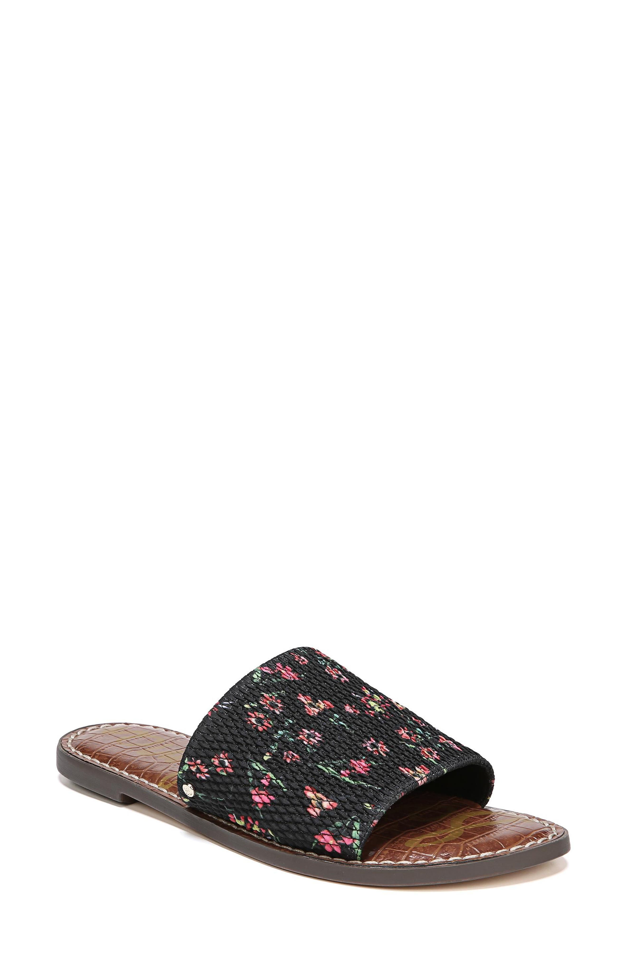 Gio Slide Sandal,                         Main,                         color, BLACK FLORAL PRINT FABRIC