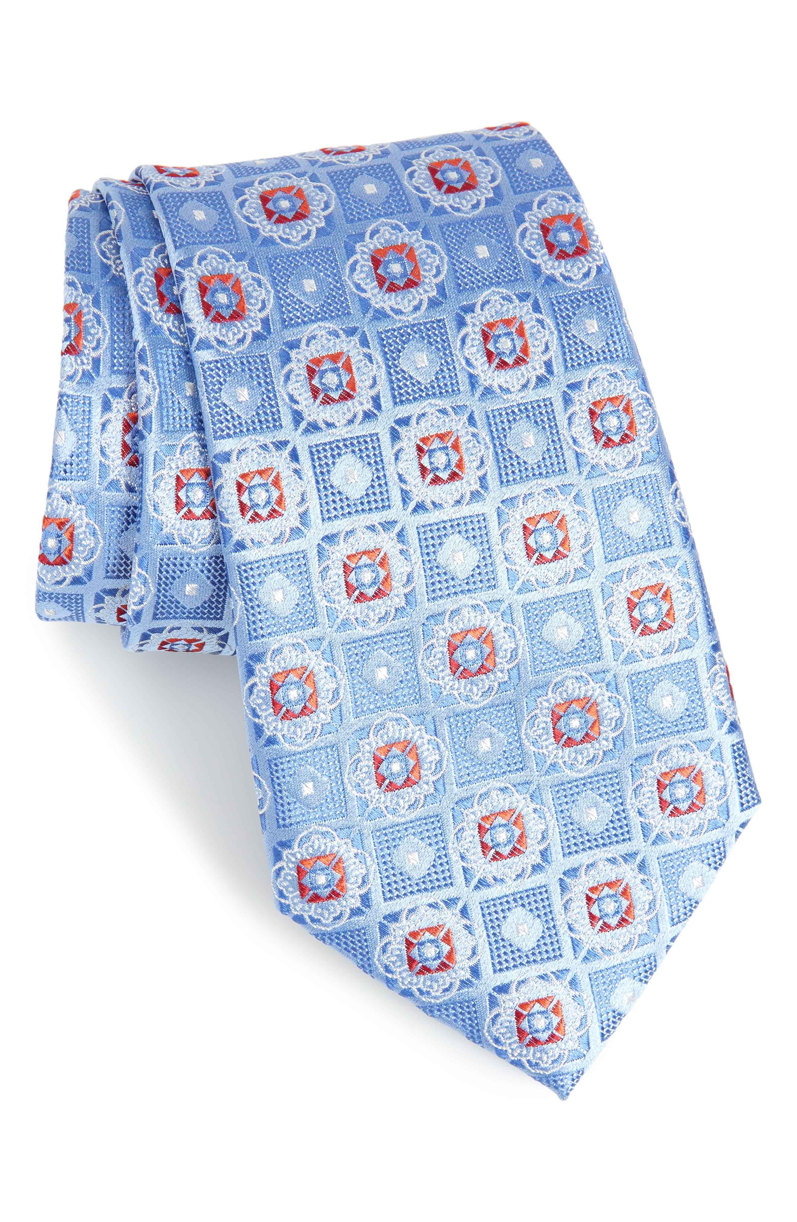 Megan Medallion Silk Tie,                         Main,                         color, LIGHT BLUE