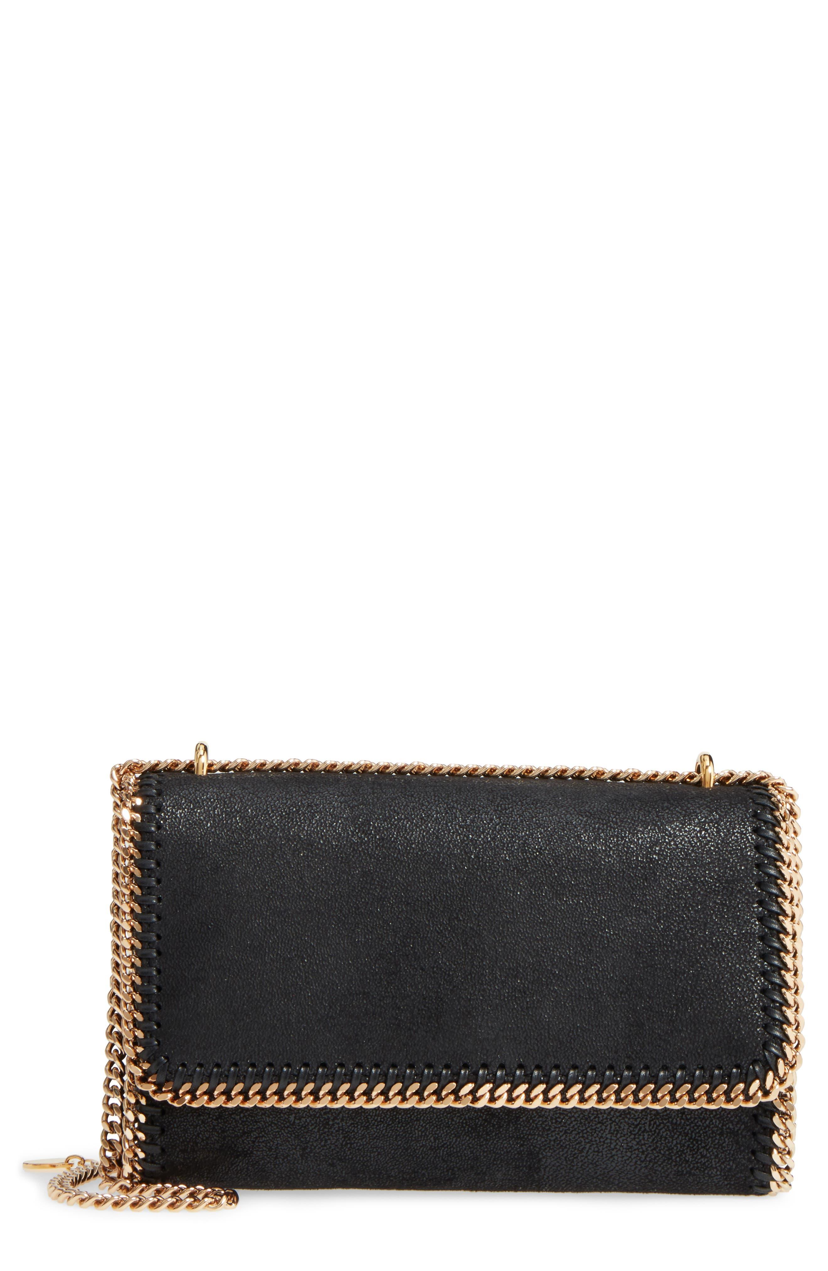 Falabella Shaggy Deer Faux Leather Shoulder Bag,                         Main,                         color, BLACK