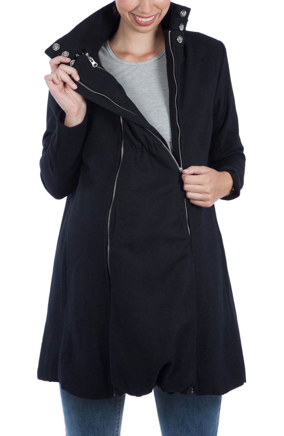 A-Line Convertible 3-in-1 Maternity Swing Coat,                             Alternate thumbnail 6, color,                             BLACK