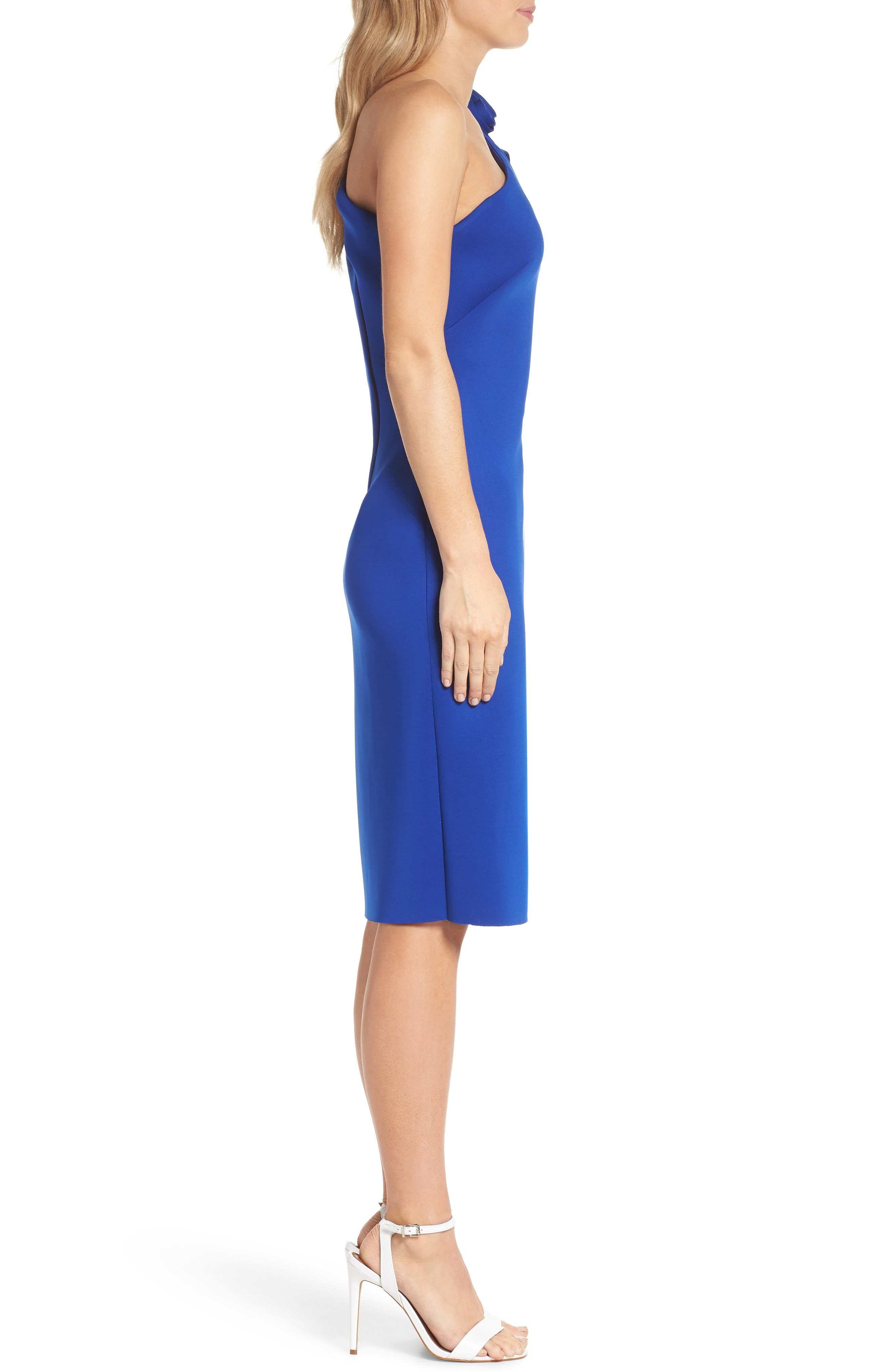One-Shoulder Sheath Dress,                             Alternate thumbnail 3, color,                             COBALT