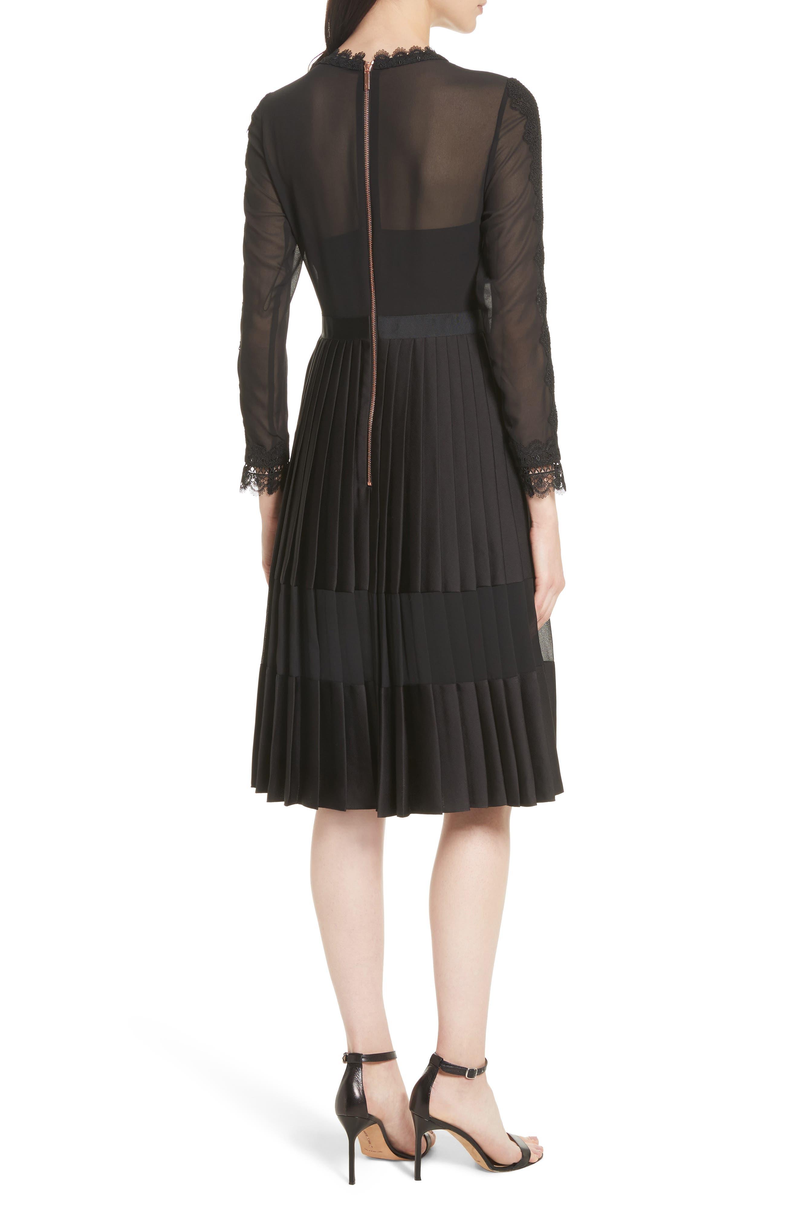 Lace Trim Pleated Midi Dress,                             Alternate thumbnail 2, color,                             001