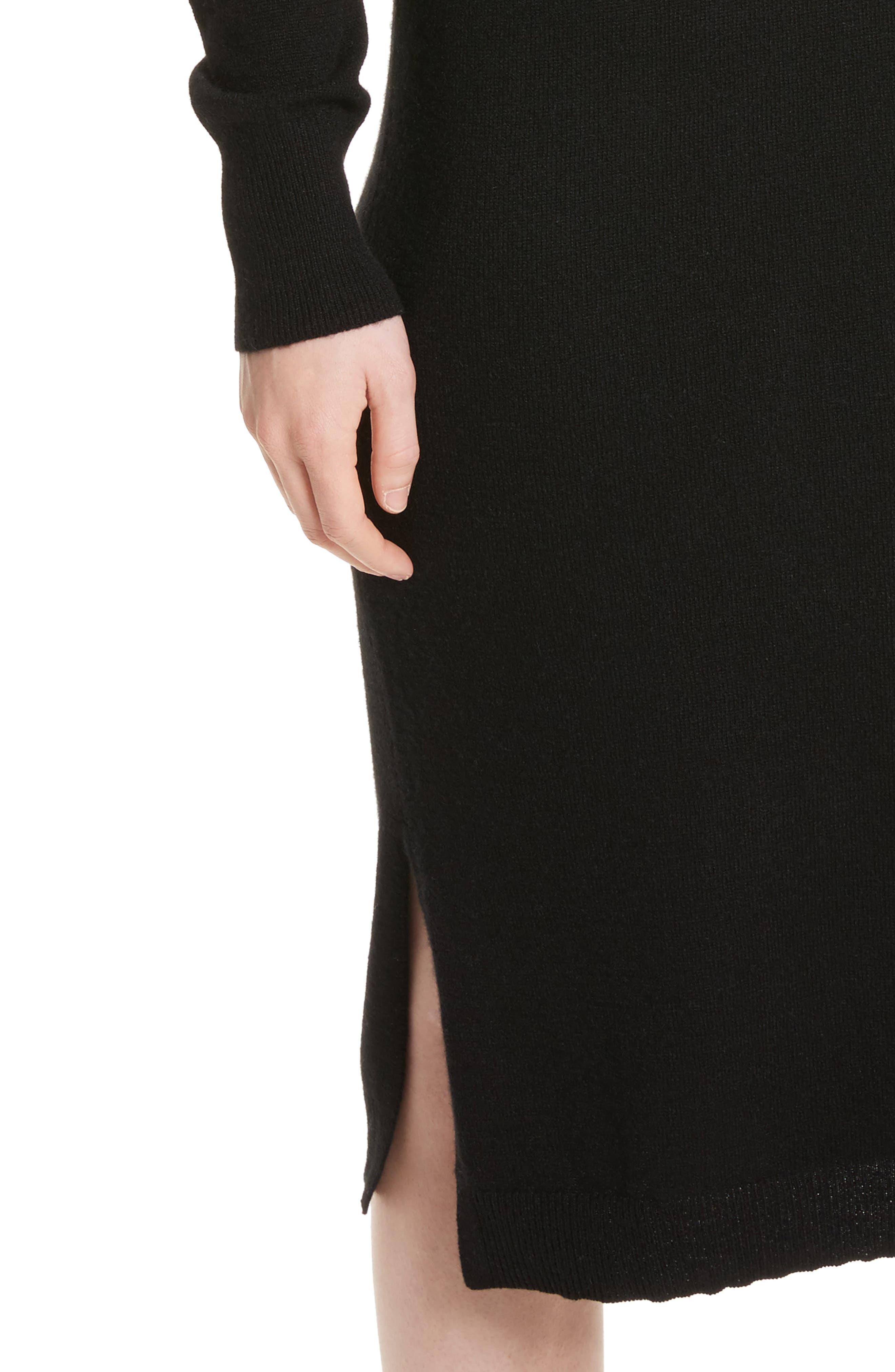 Snyder Cashmere Knit Midi Dress,                             Alternate thumbnail 4, color,                             001