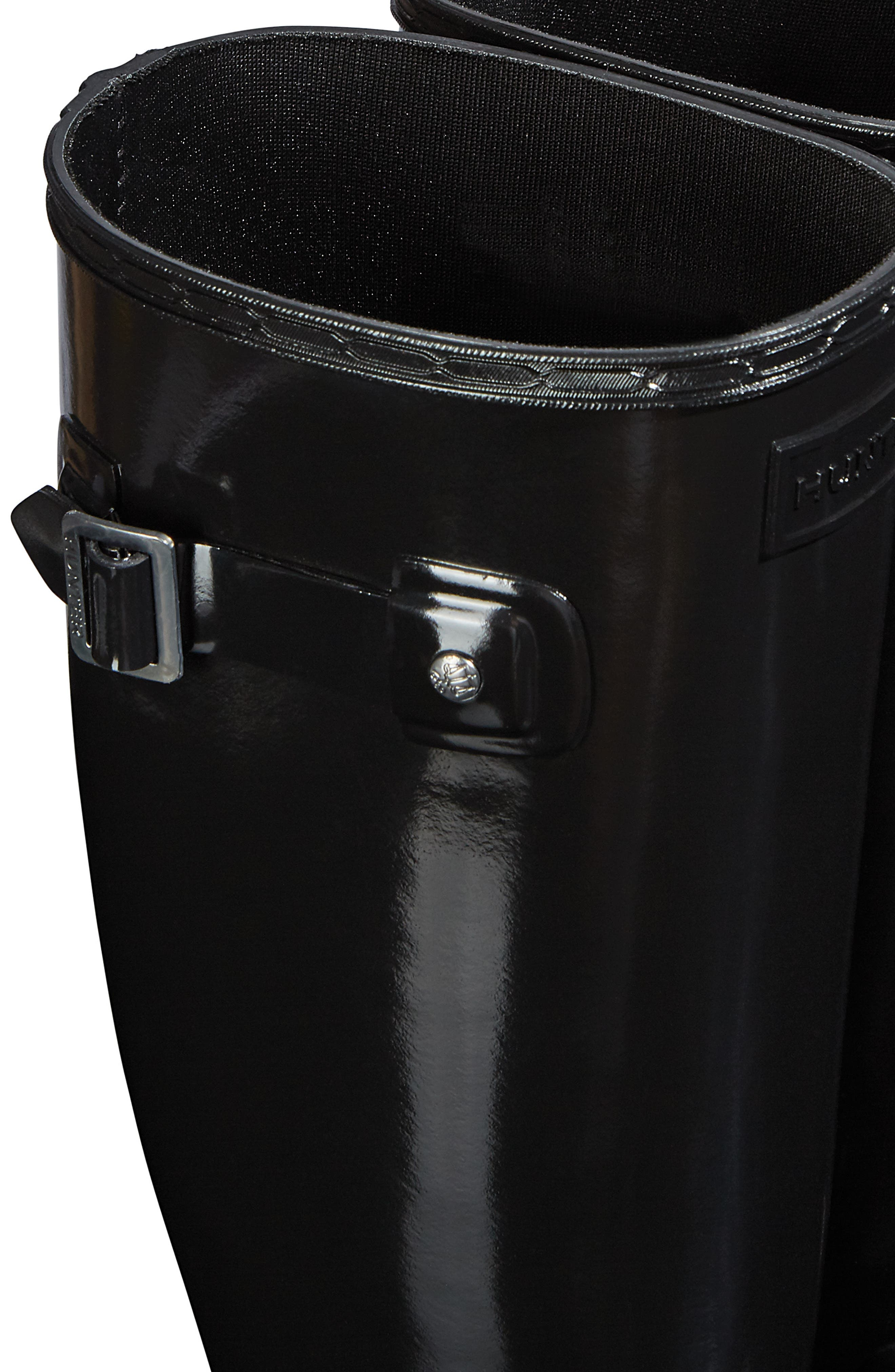 Original Refined Gloss Tall Waterproof Rain Boot,                             Alternate thumbnail 5, color,                             BLACK