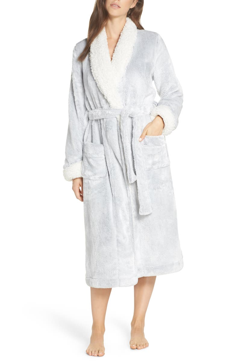 Frosted Plush Robe,                         Main,                         color, GREY PEPPER